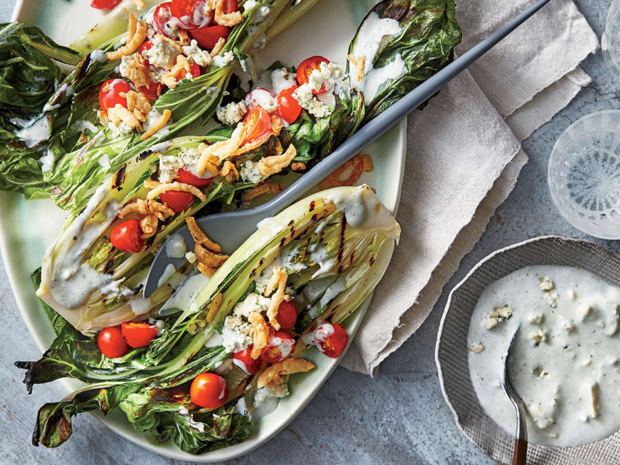 """ck-Grilled Bok Choy """"Wedge"""" with Blue Cheese-Buttermilk Dressing"""