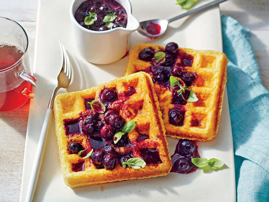 ck- Cornmeal Waffles with Fresh Blueberry Compote
