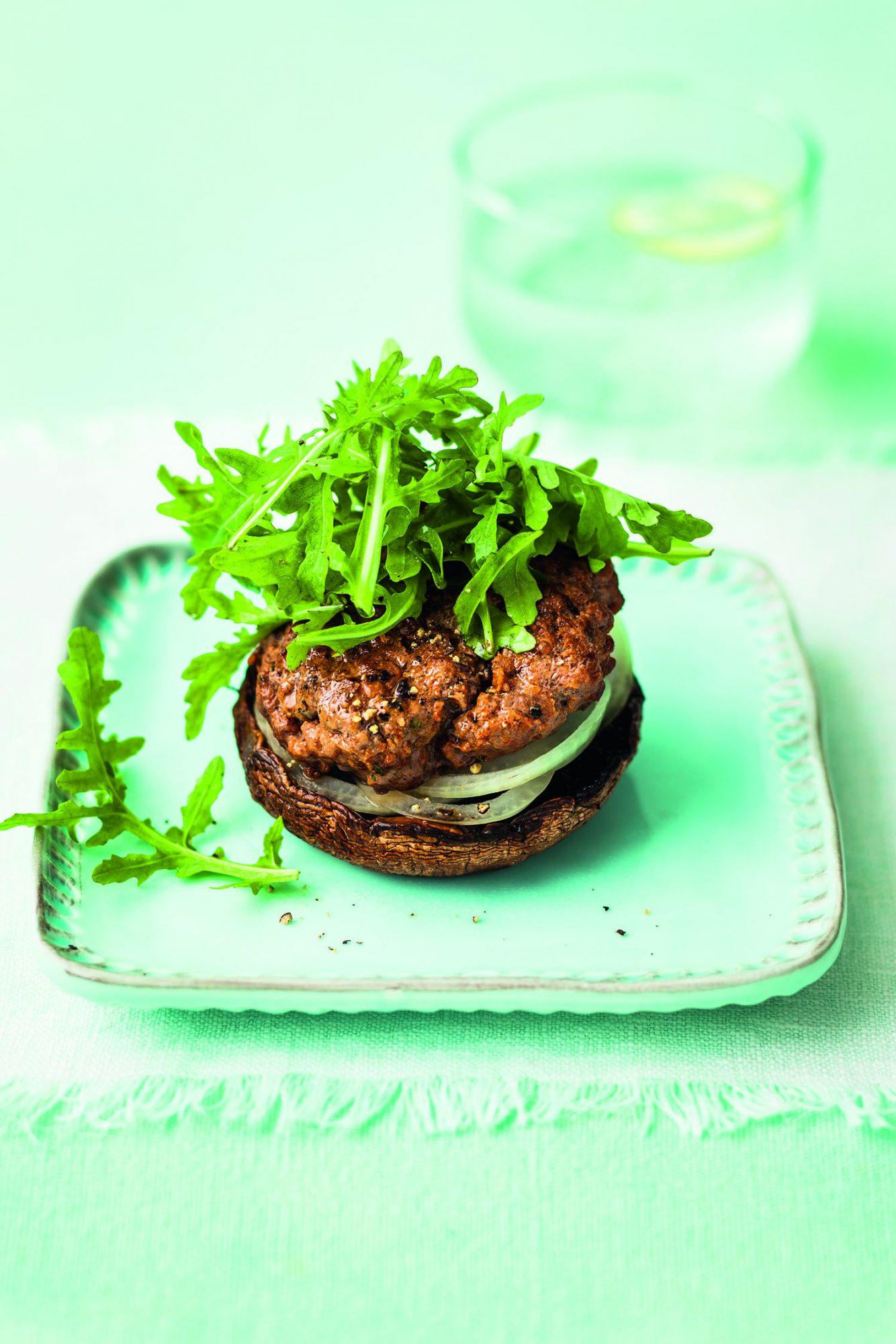 """Skinny Burger on Mushroom """"Roll"""""""