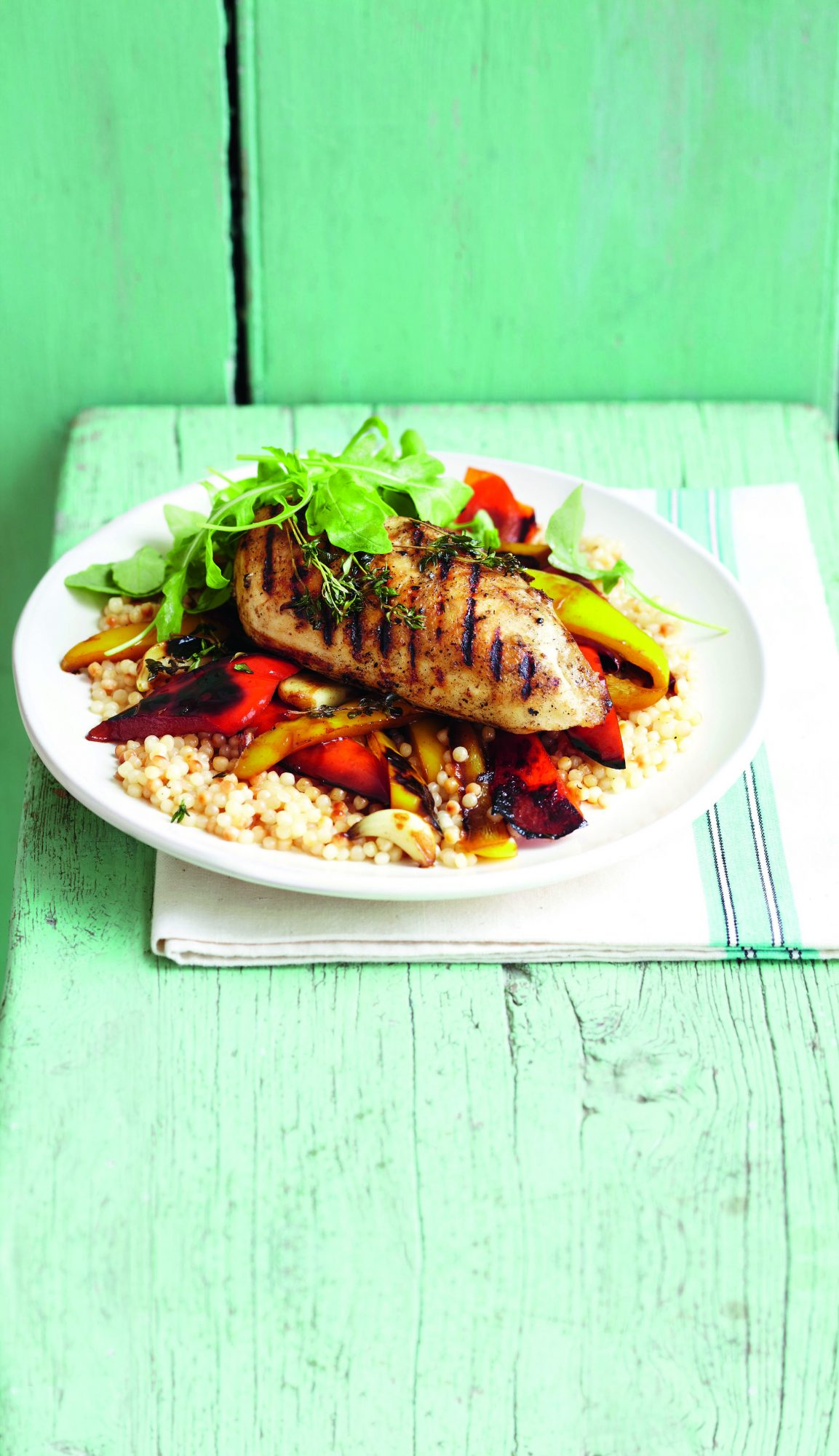 oh- Pan-Fried Chicken with Balsamic Peppers and Couscous