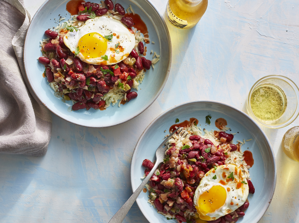 Red Beans and Rice with Fried Eggs image