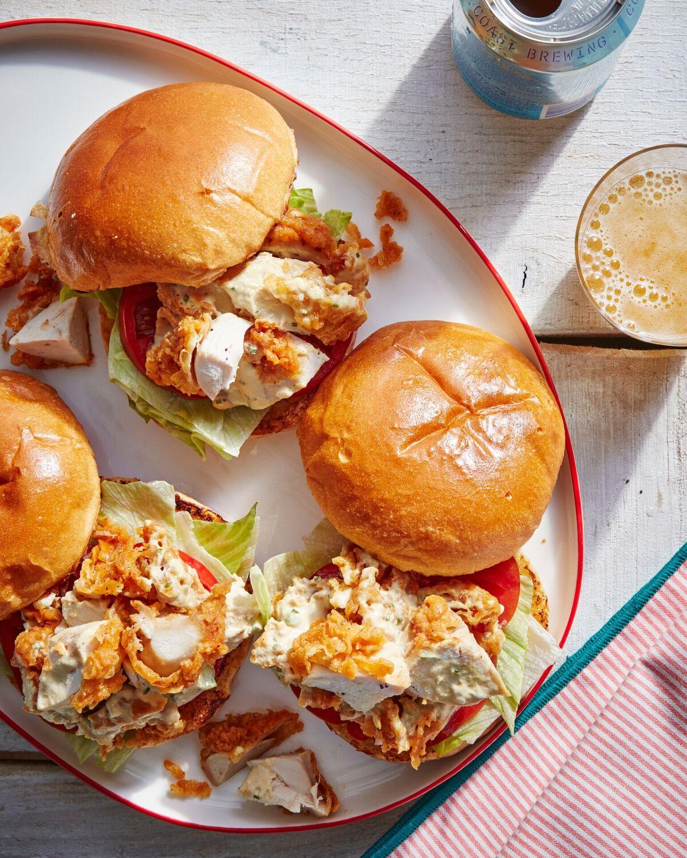 Cold Fried-Chicken-Salad Sandwiches