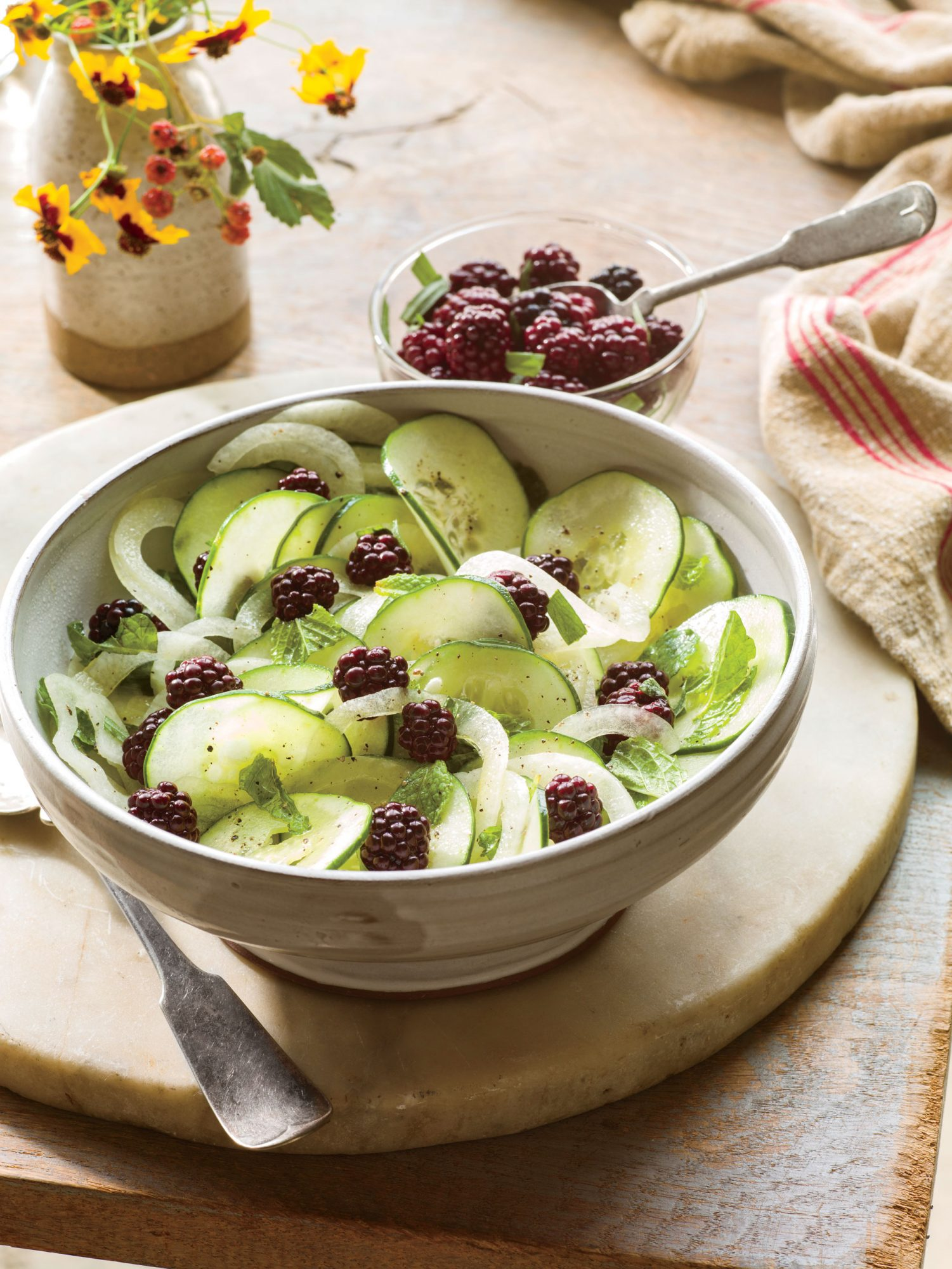 Shaved Cucumber Salad with Pickled Blackberries
