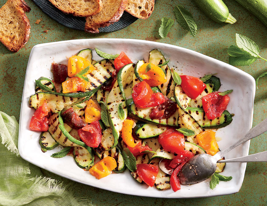 Grilled Zucchini Salad; Photographer: Linda Pugliese; Prop Stylist: Kay Clarke; Food Stylist: Torie C