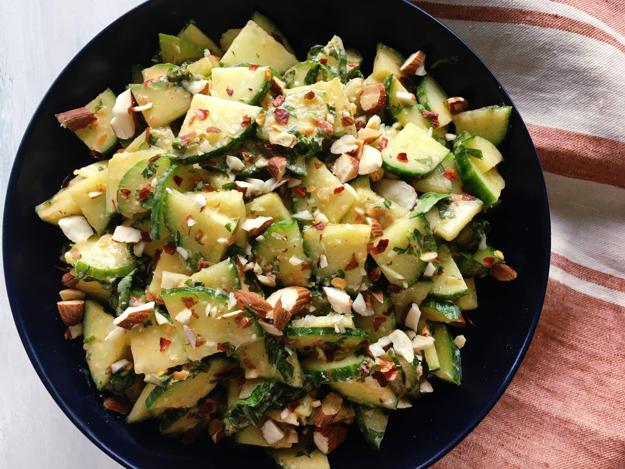 Cucumber Salad with Spicy Tahini Dressing