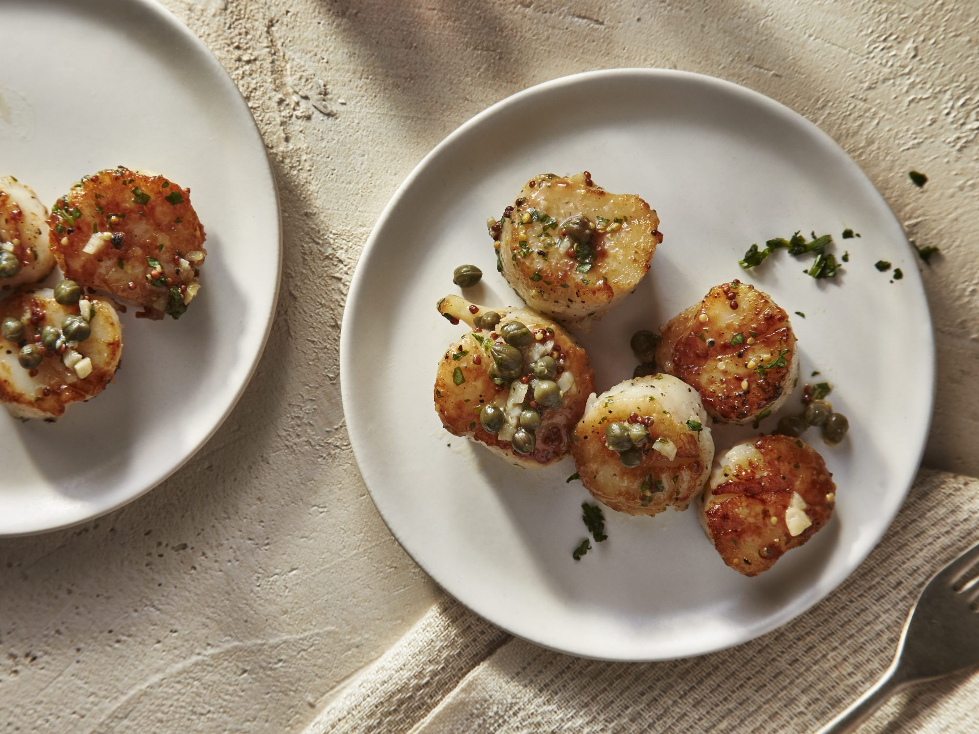 Pan Seared Scallops with Mustard-Caper Sauce