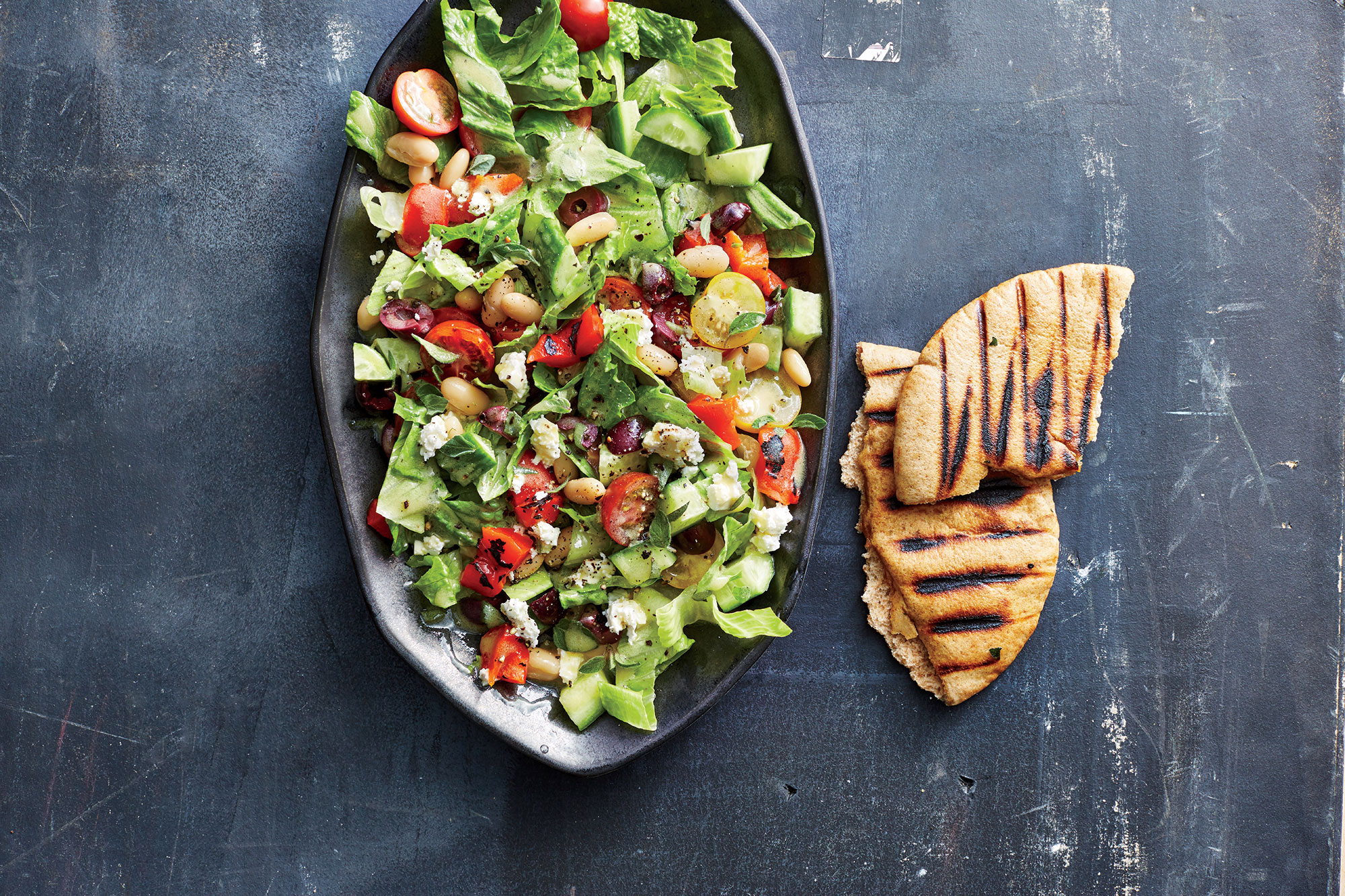 Greek Chopped Salad with Grilled Pita