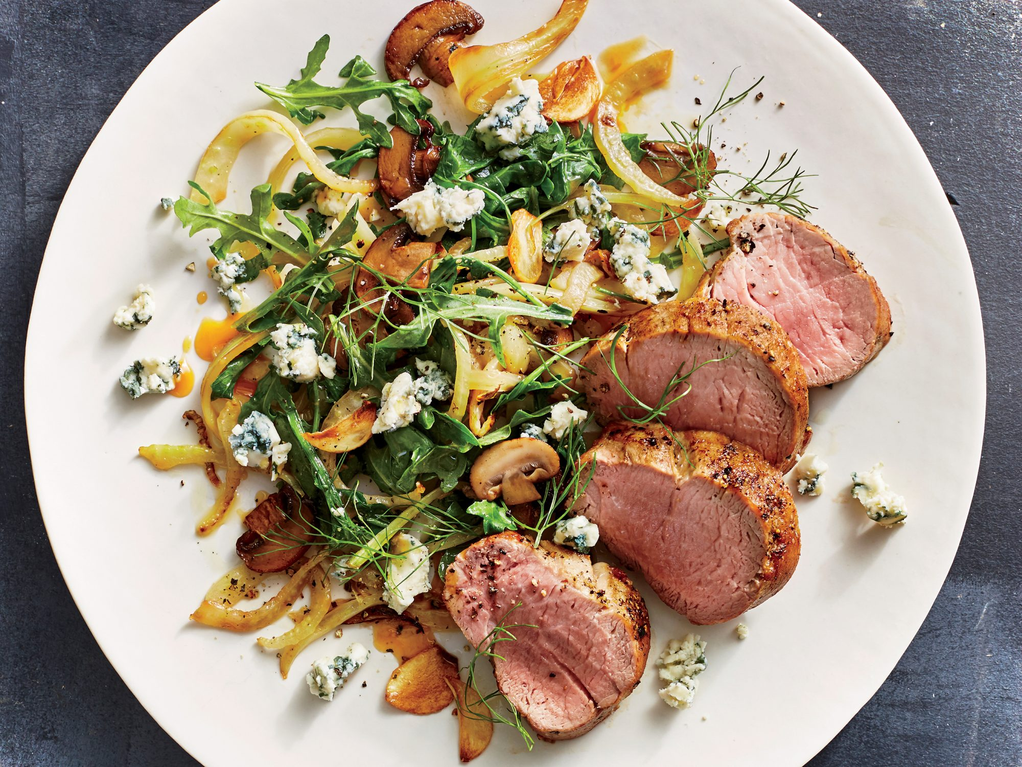 Pork Tenderloin with Mushrooms, Fennel, and Blue Cheese