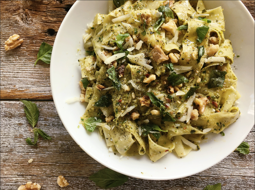 Pappardelle with Scallion Pesto
