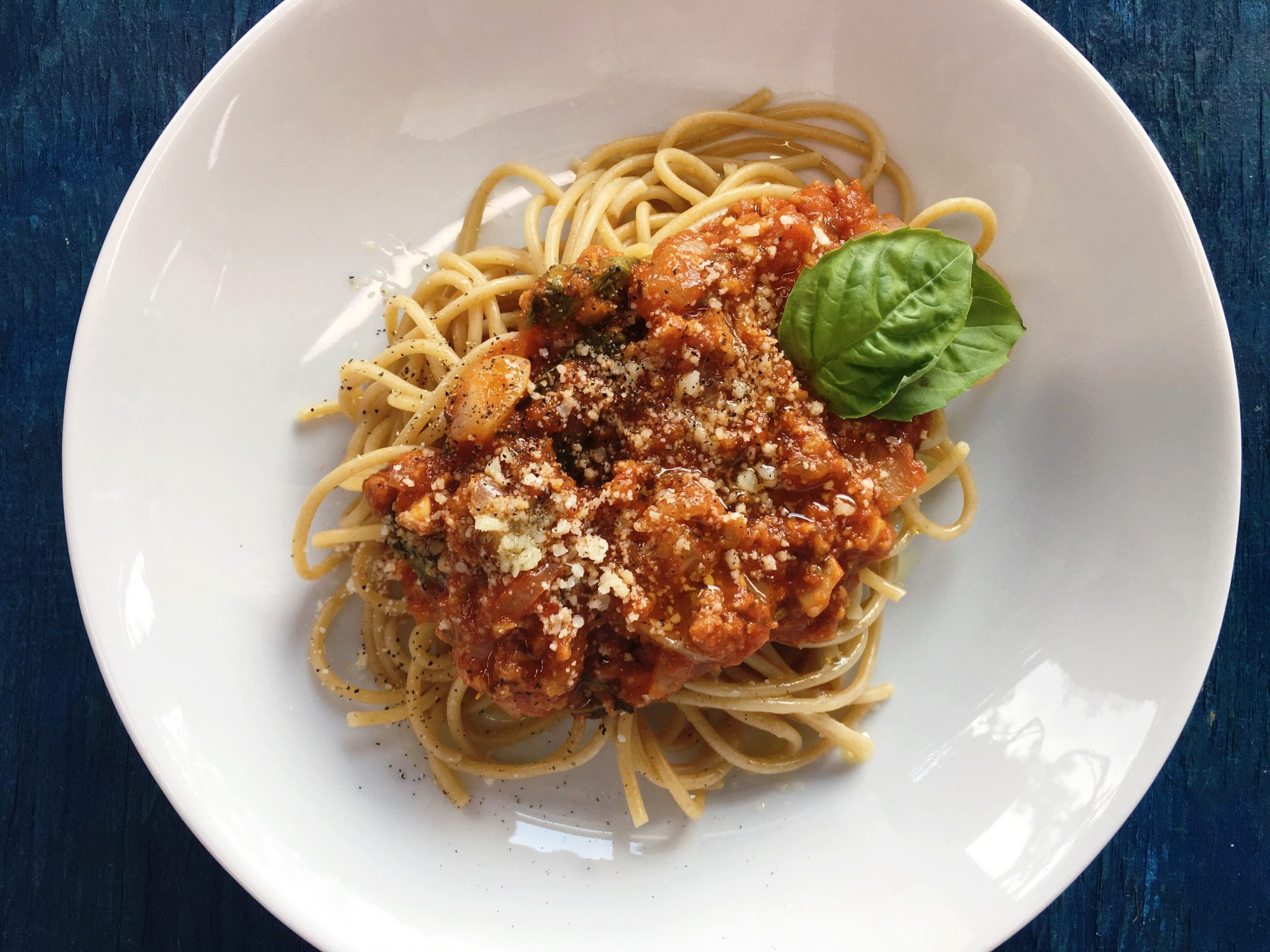 "Spaghetti with Vegetarian ""Meat"" Sauce"