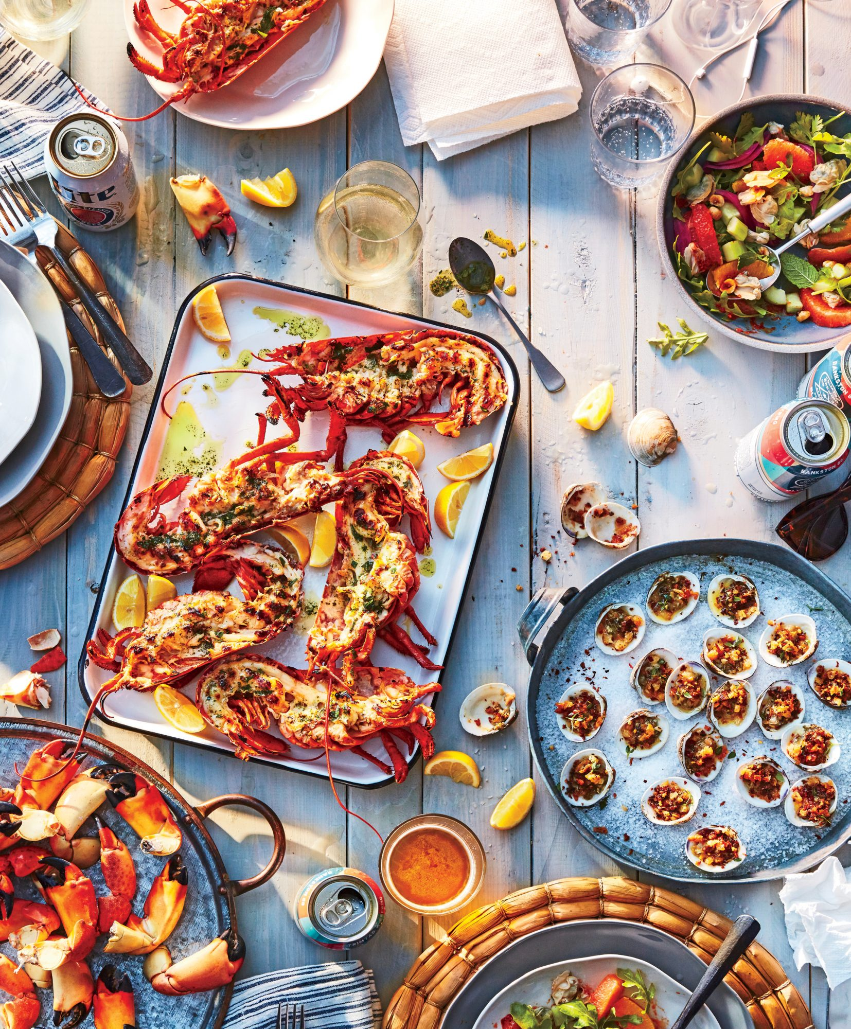 Grilled Spiny Lobsters with Herbed Oil