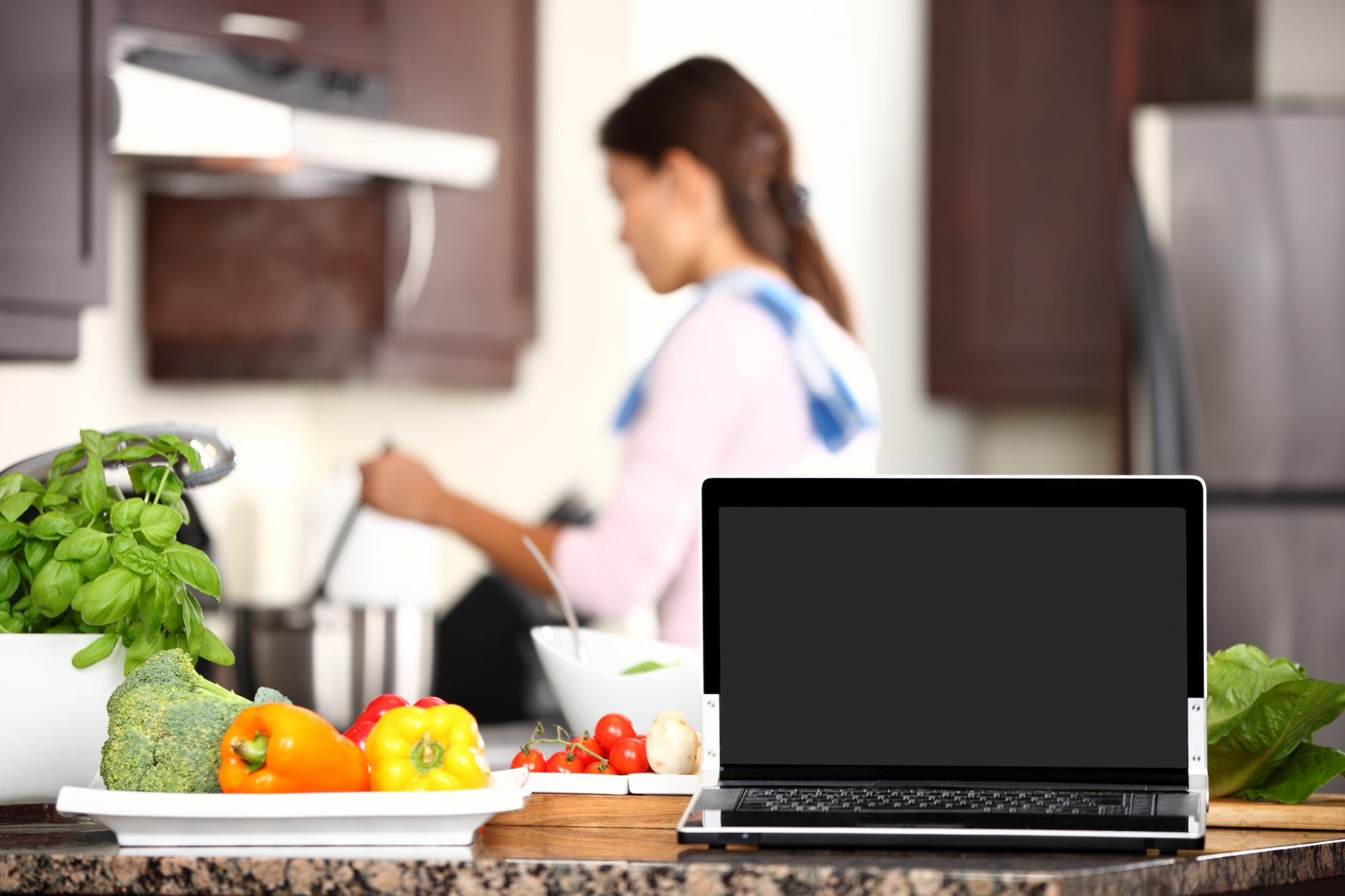 Laptop-in-kitchen