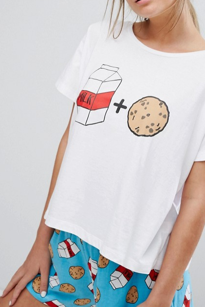 ASOS 2 Pack Milk & Cookies Tee & Short Pajama Set