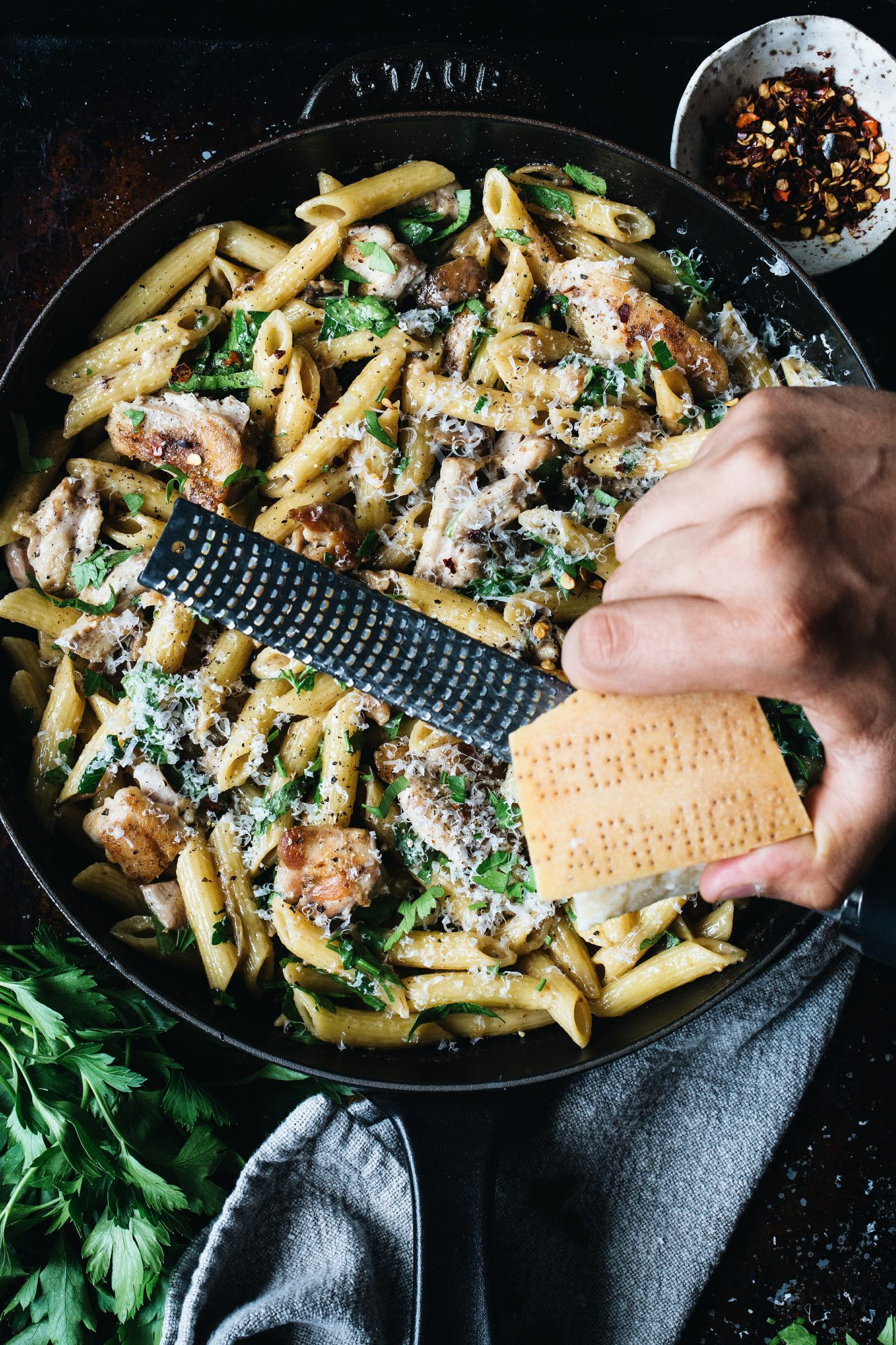 Caramelized Onion, Mushroom, and Chicken Penne Image