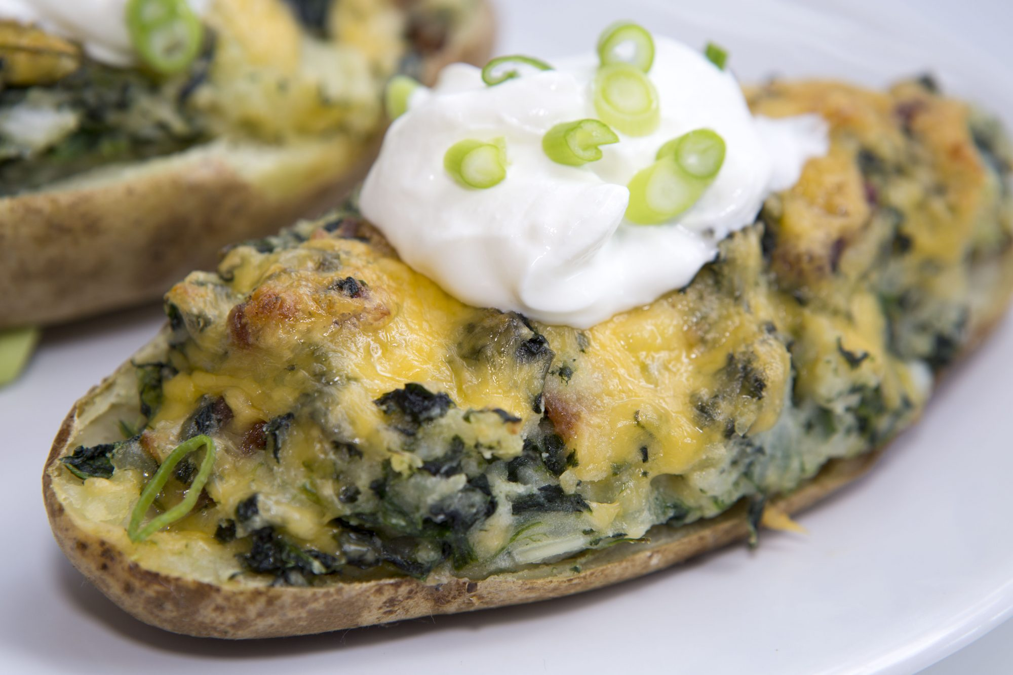 Cheesy Spinach and Bacon Stuffed Potatoes image