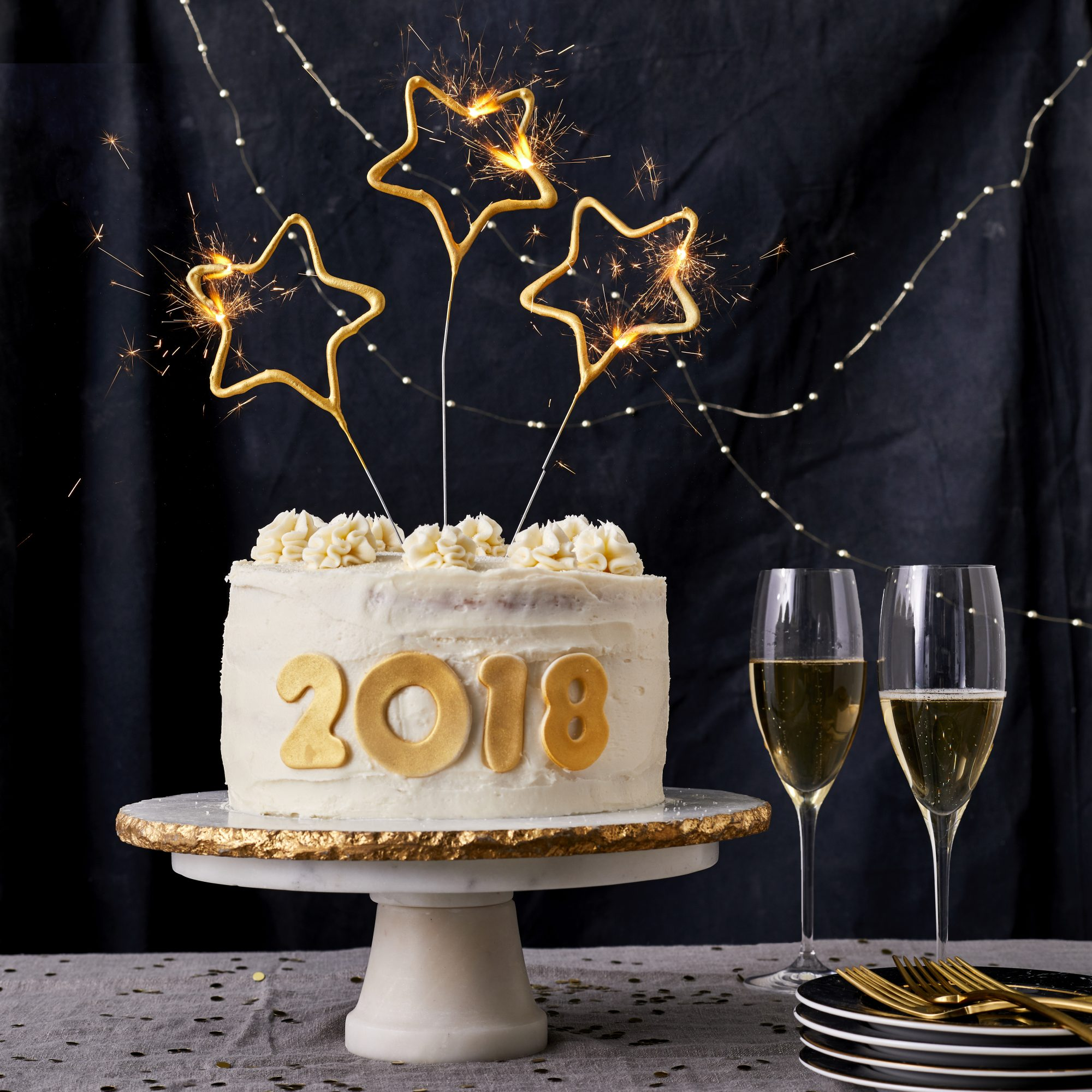 New Year's Cake with Champagne Buttercream