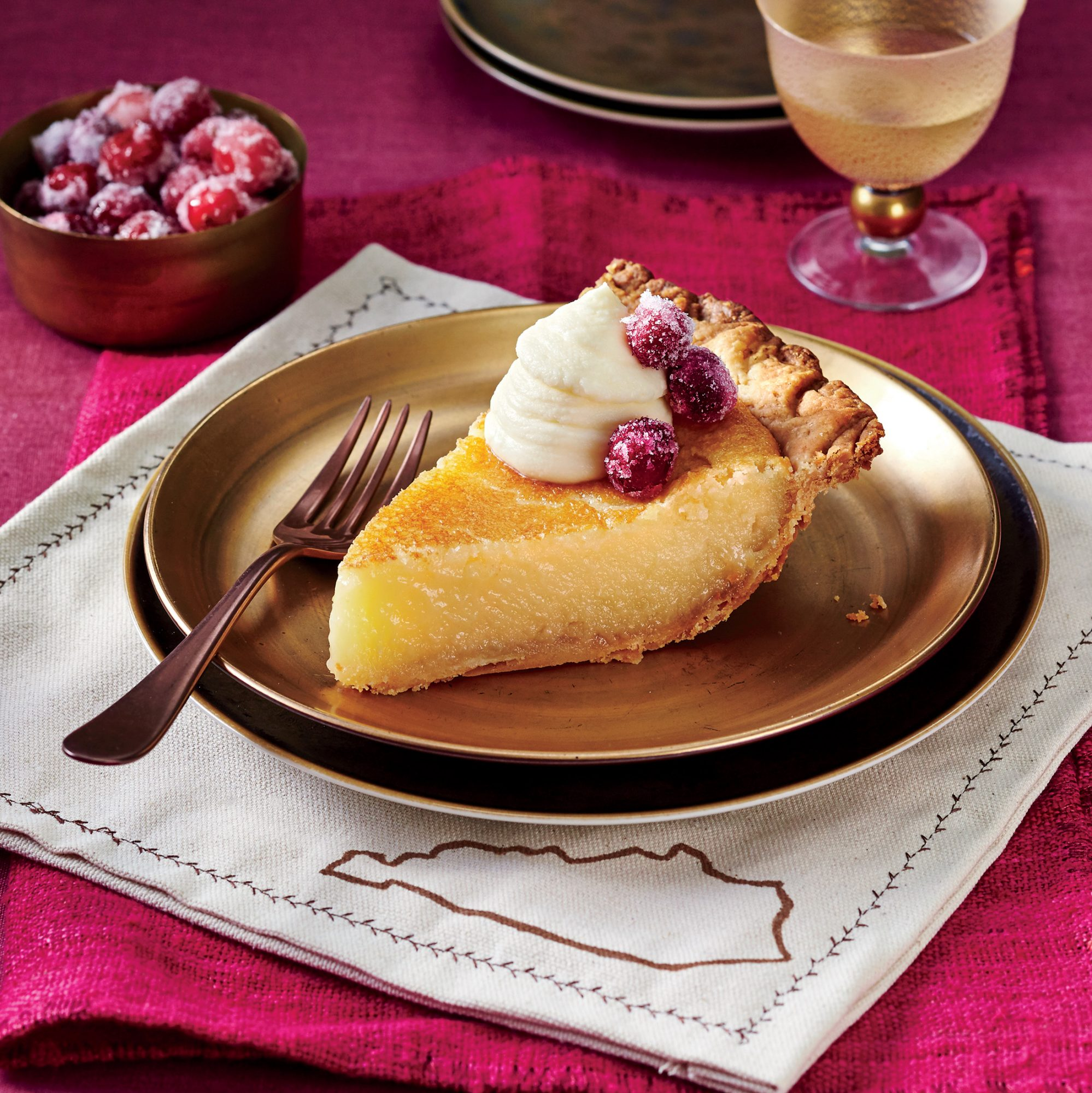 Transparent Pie with Whipped Crème Fraîche and Sugared Cranberries