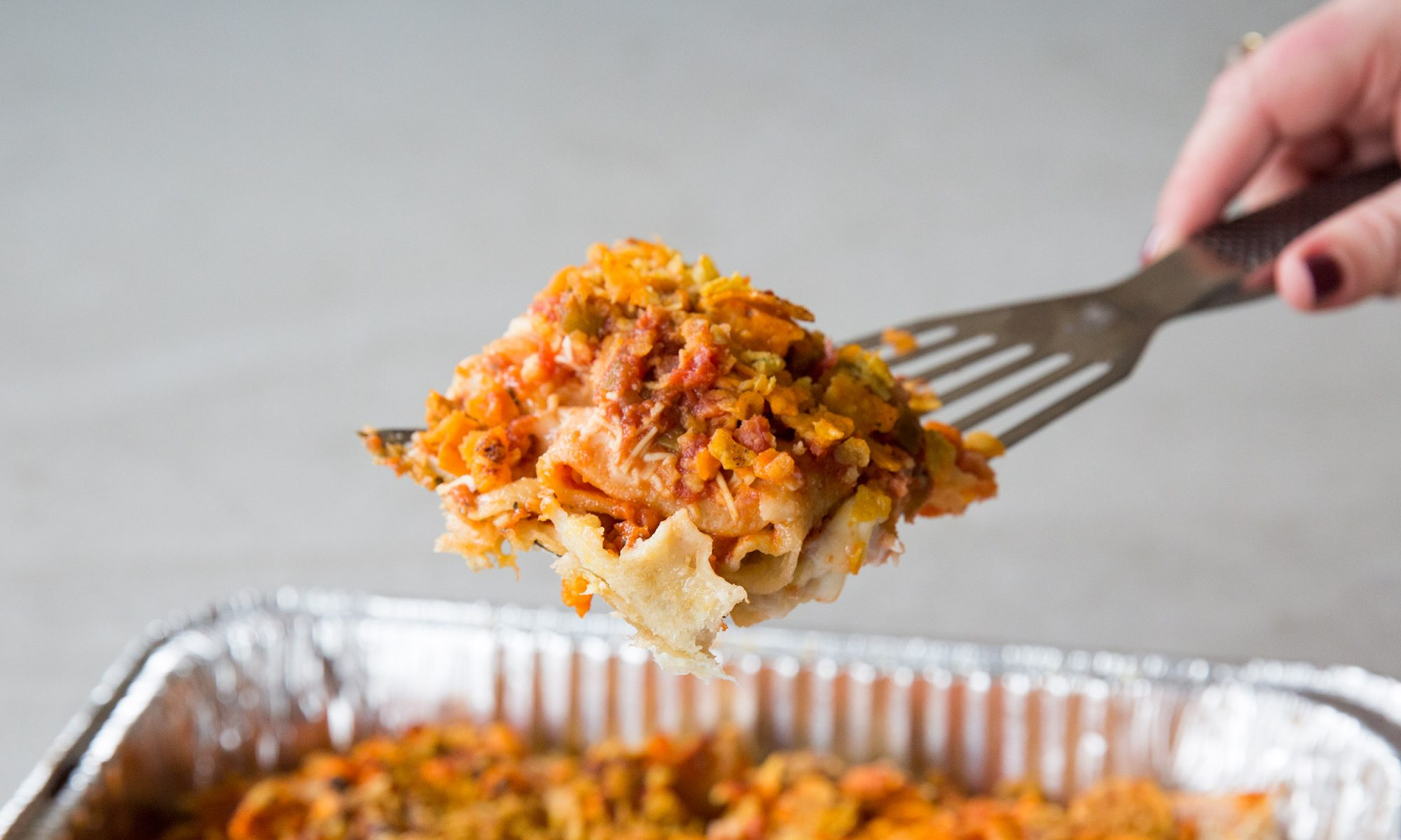 Pizza Roll Lasagna Dirtbag Casserole for the Morning After