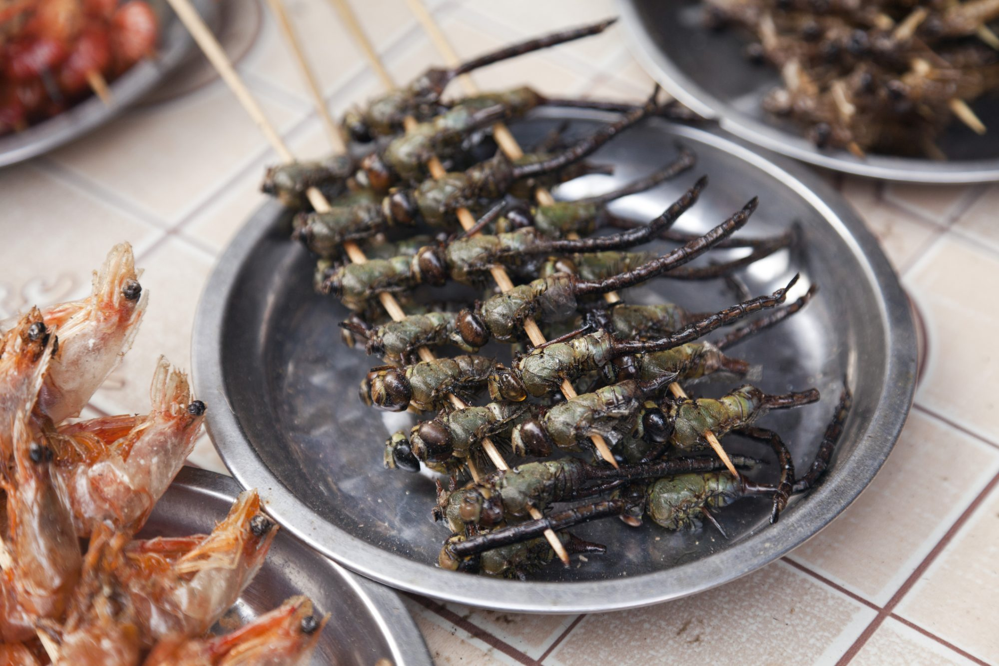 Fried dragonflies for sale in China