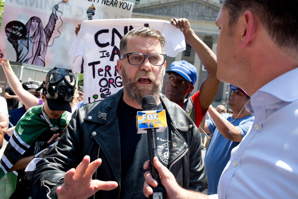 NEW YORK, NY - JUNE 10: The alt-right leader and former co-founder of Vice Magazine Gavin McInnes attends an Act for America rally to protest sharia law on June 10, 2017 in Foley Square in New York City. Members of the Oath Keepers and the Proud...