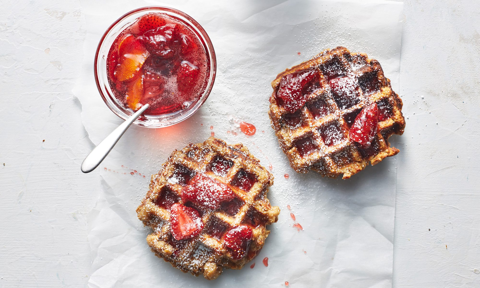 How to Make Granola Waffles with Strawberry Compote