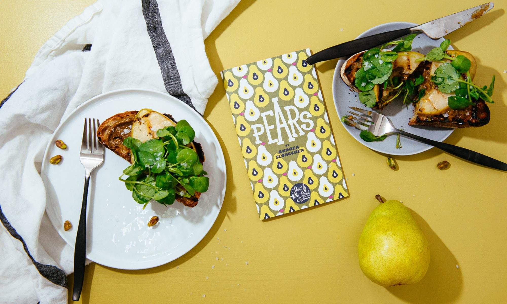 Grilled Pear Toasts with Amazing Pistachio Butter