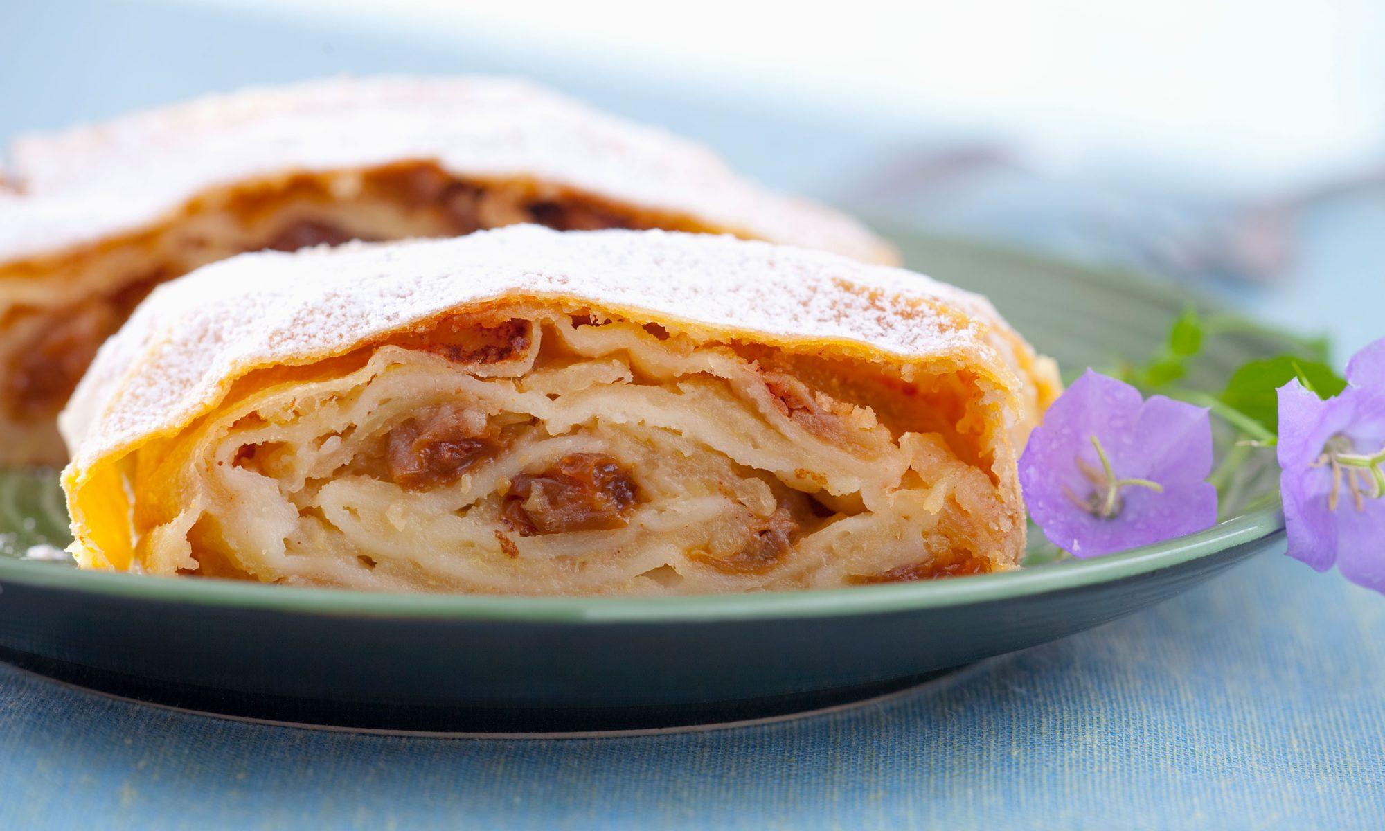 tahini honey apple strudel