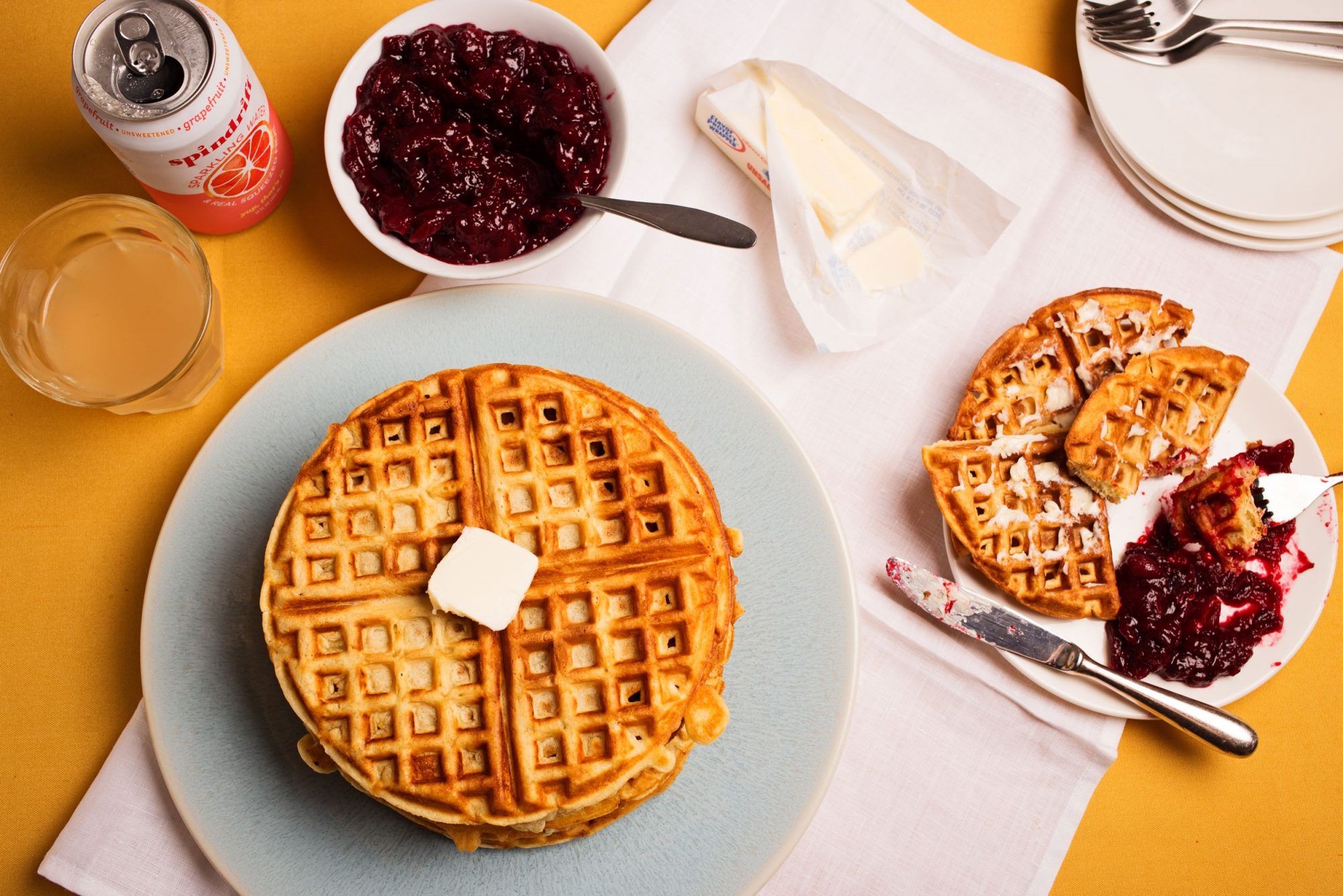 EC: Brown Sugar Waffles with Orange-Ginger Cranberry Compote