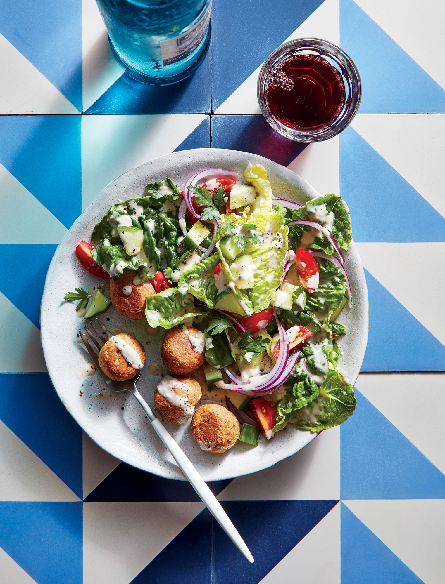 "Chickpea ""Meatballs"" with Crunchy Romaine Salad"