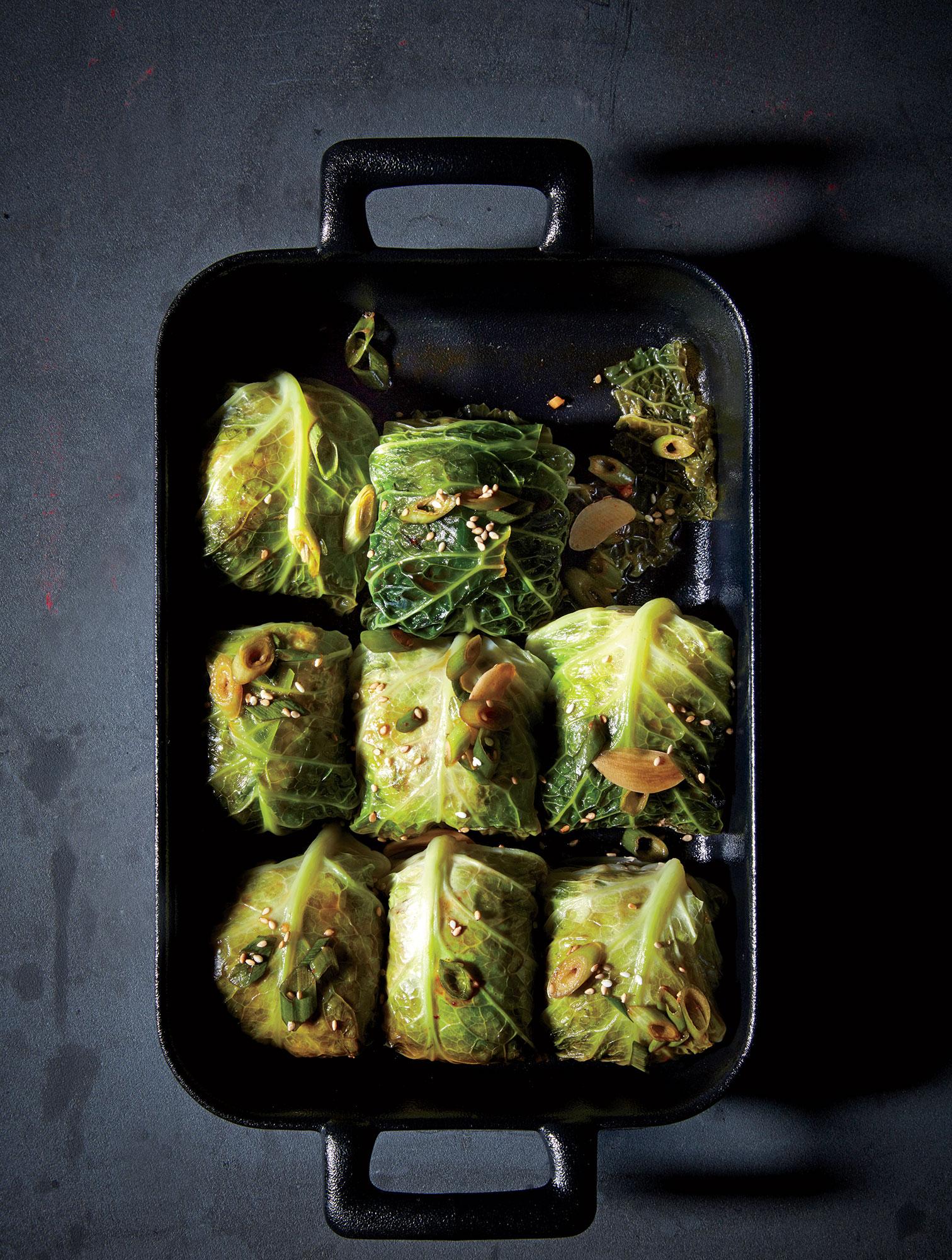Pork and Broken Rice Cabbage Rolls
