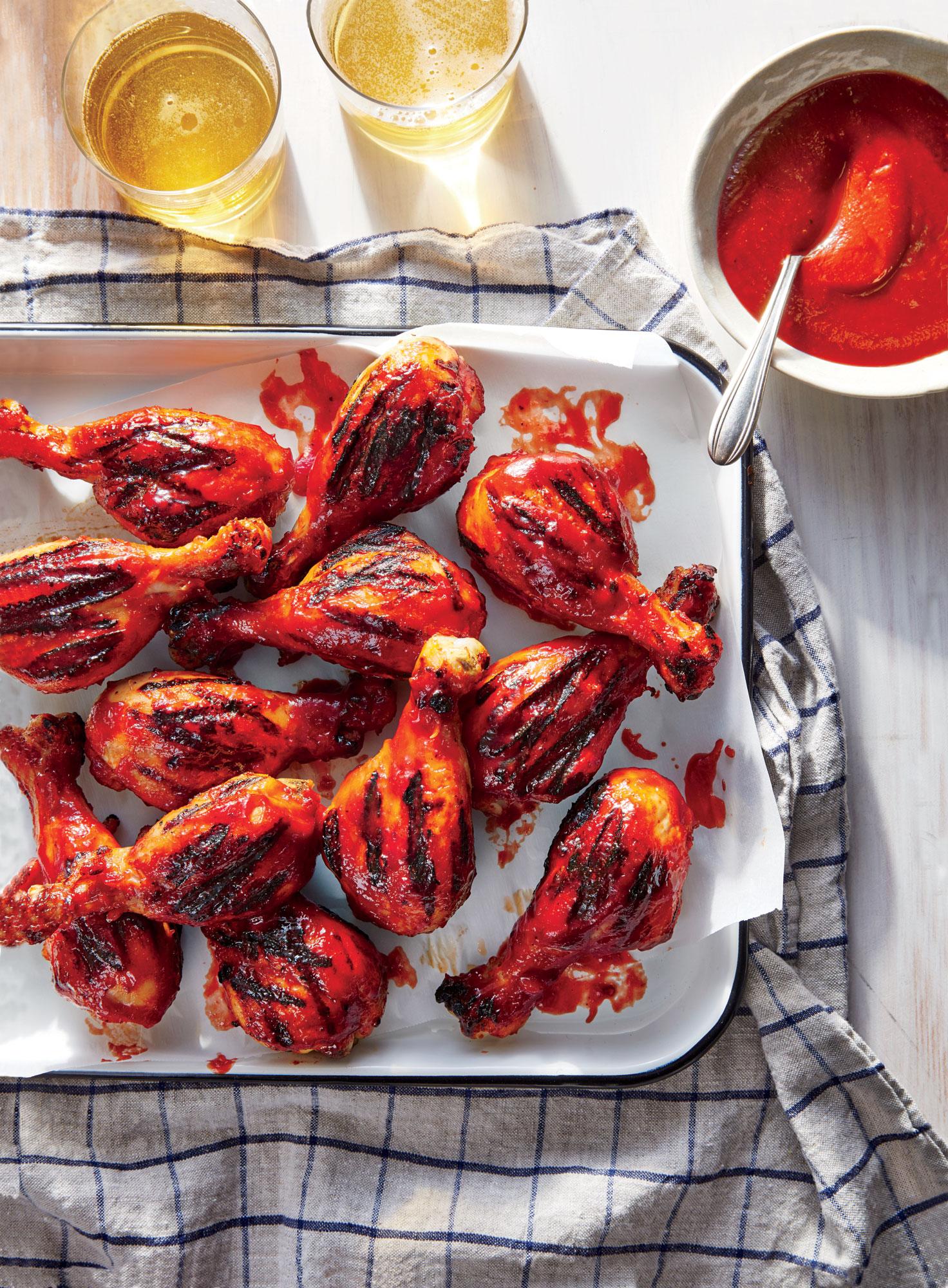 Grilled Chicken Drumsticks with Bourbon-Cherry BBQ Sauce