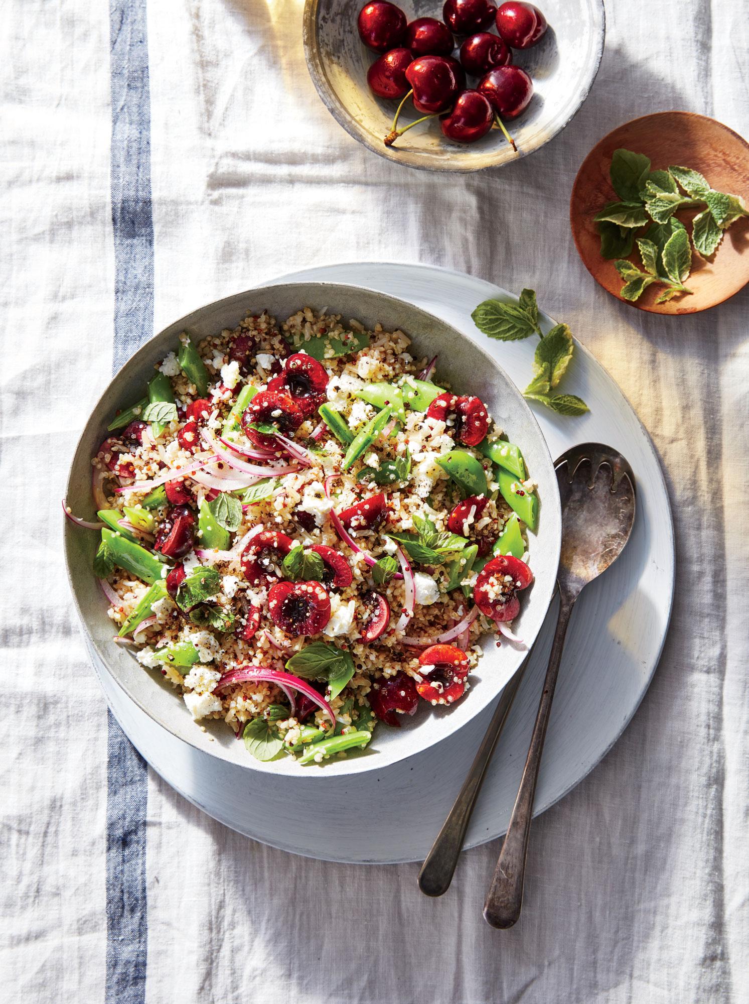 Mixed Grain, Cherry, and Snap Pea Salad
