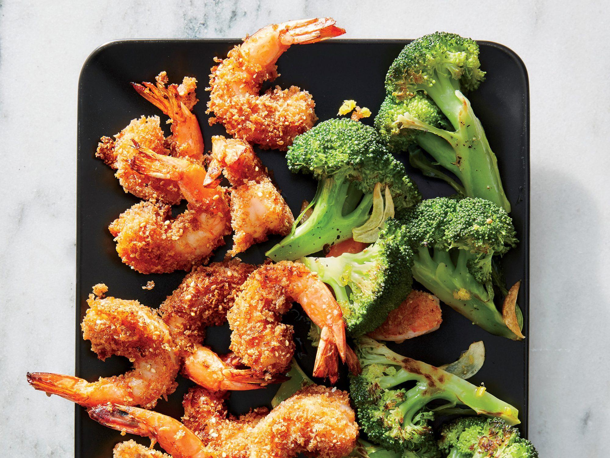 Sesame Shrimp with Ginger Broccoli