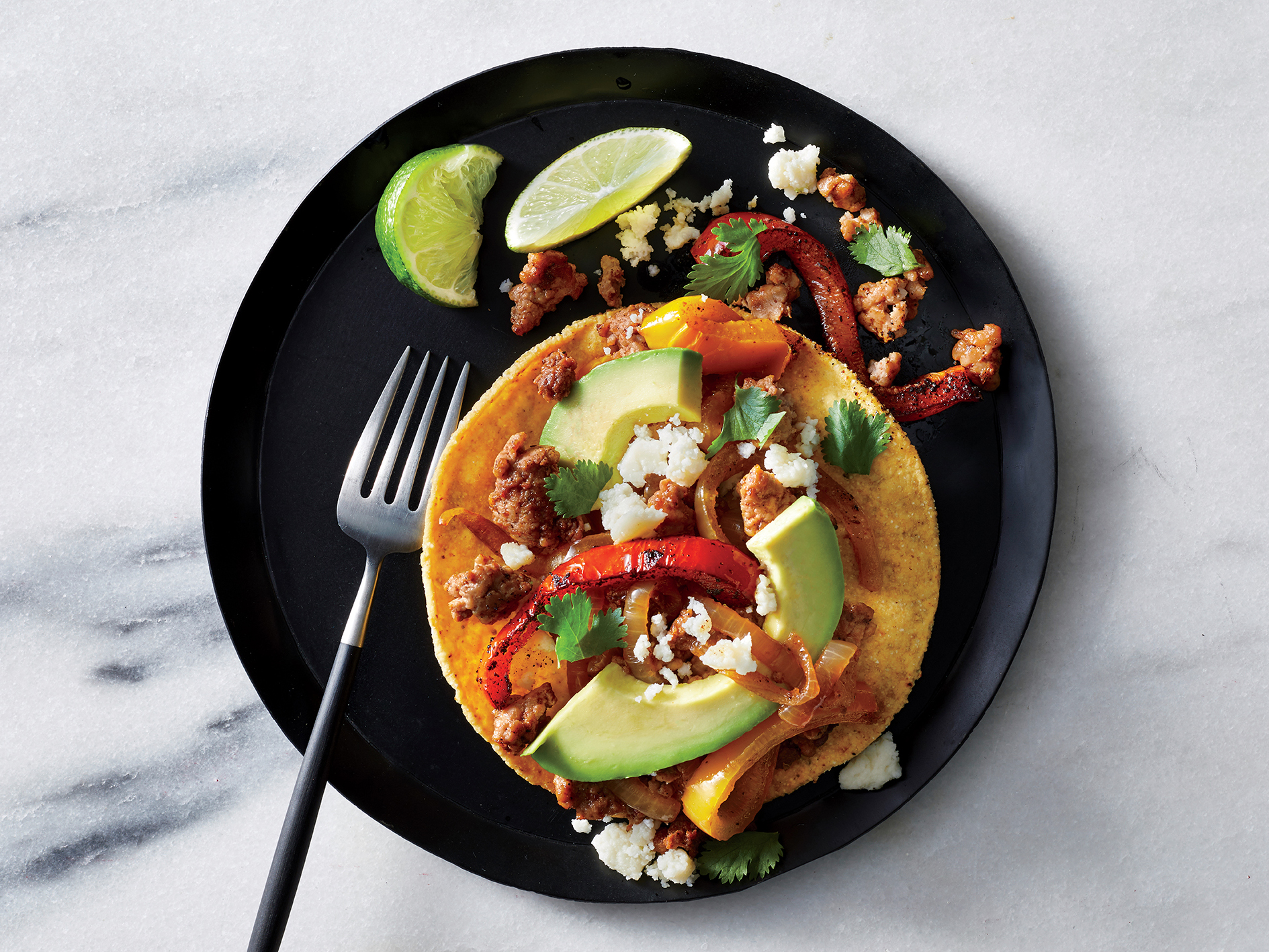 Chorizo and Bell Pepper Tostadas