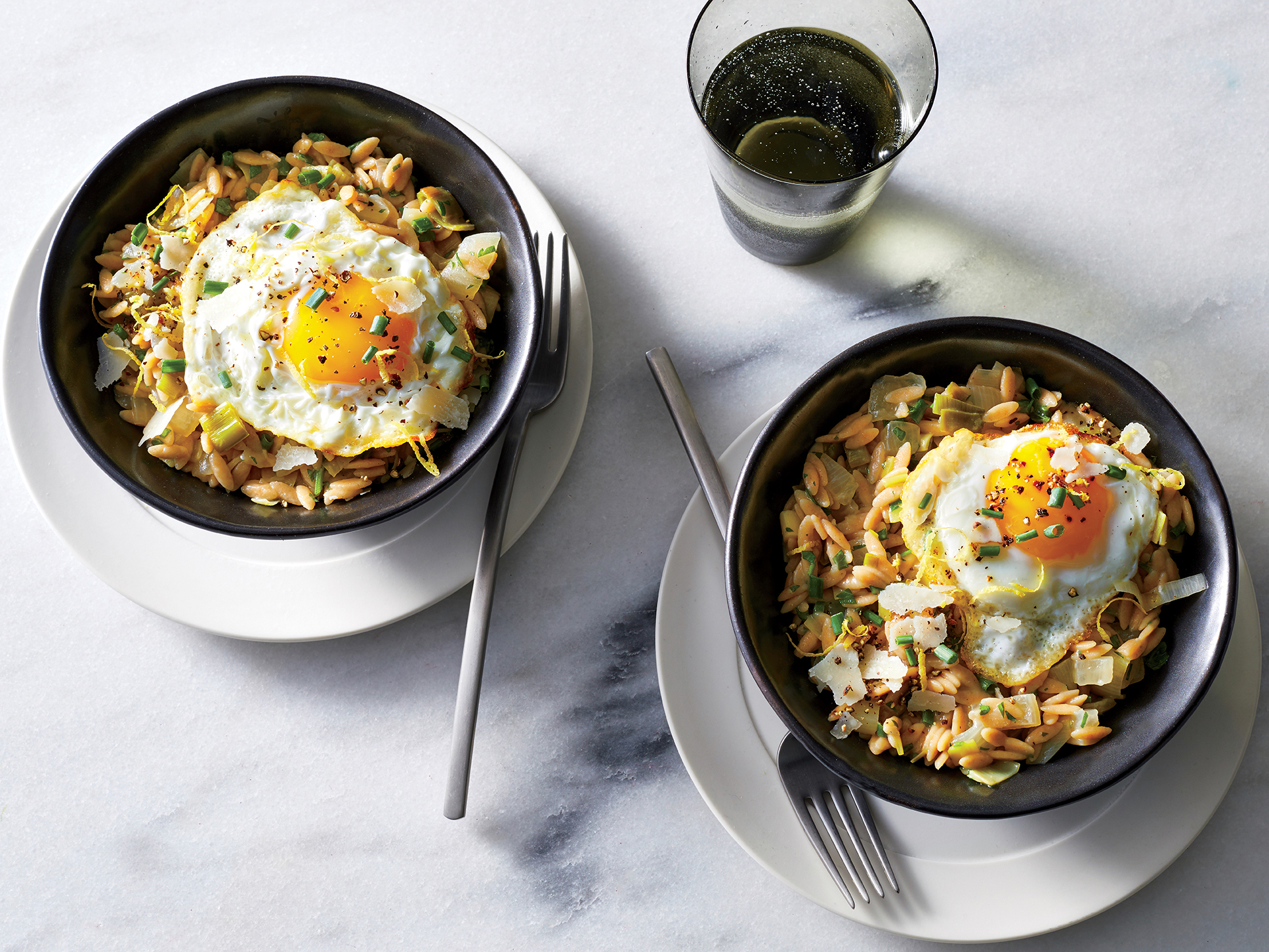 """Herb and Leek """"Orzotto"""" with Fried Eggs"""