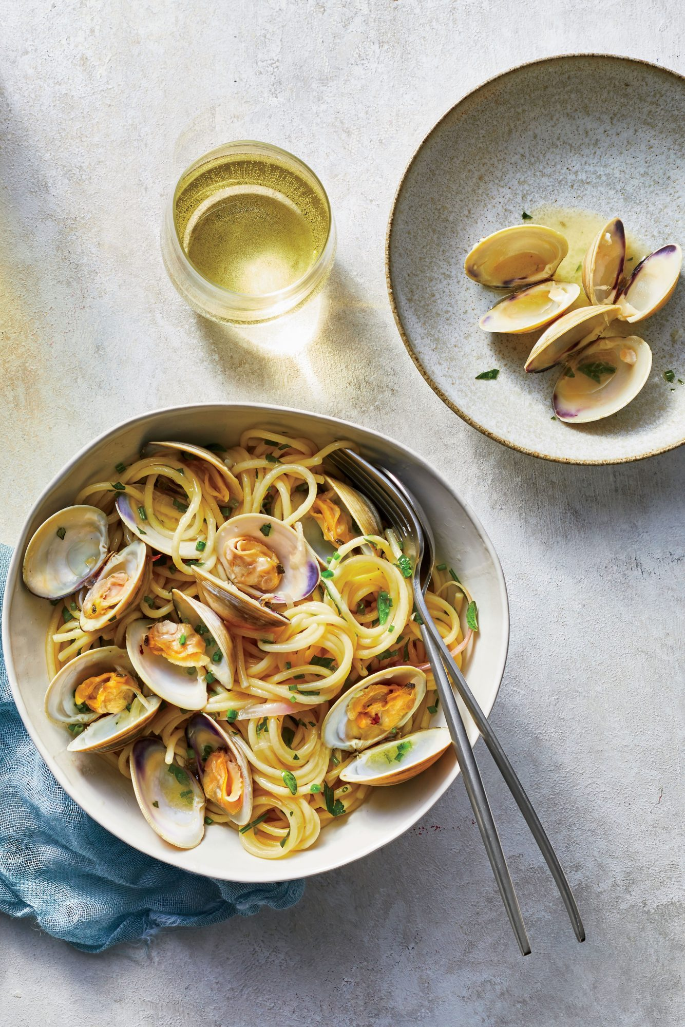 Spaghetti with Clams, Bonito Butter, and Herbs