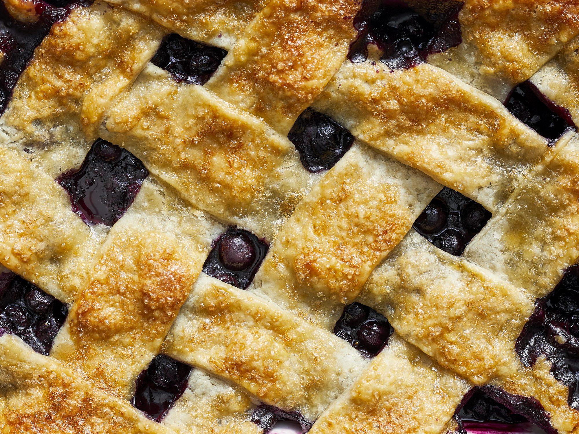 mr-lattice topped blueberry cobbler close up