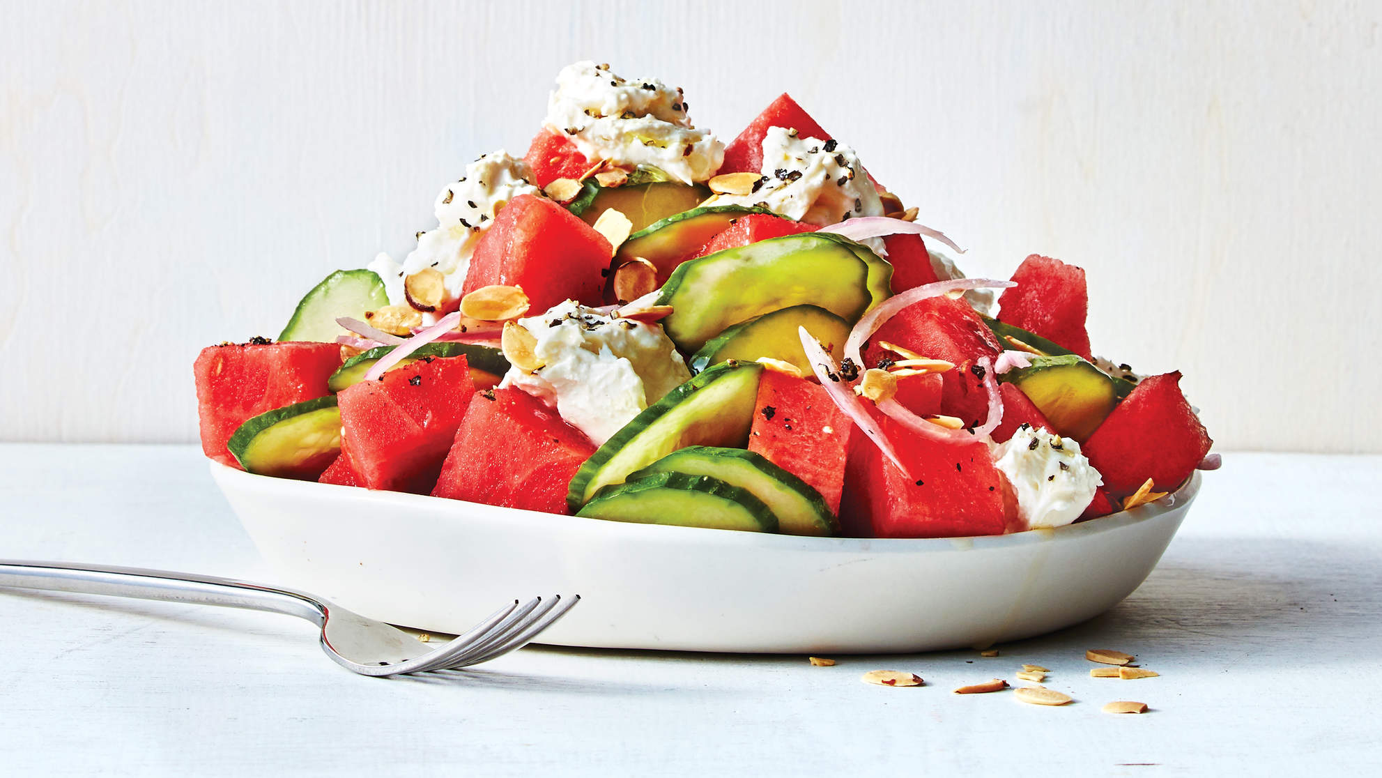 Watermelon, Cucumber, and Burrata Salad