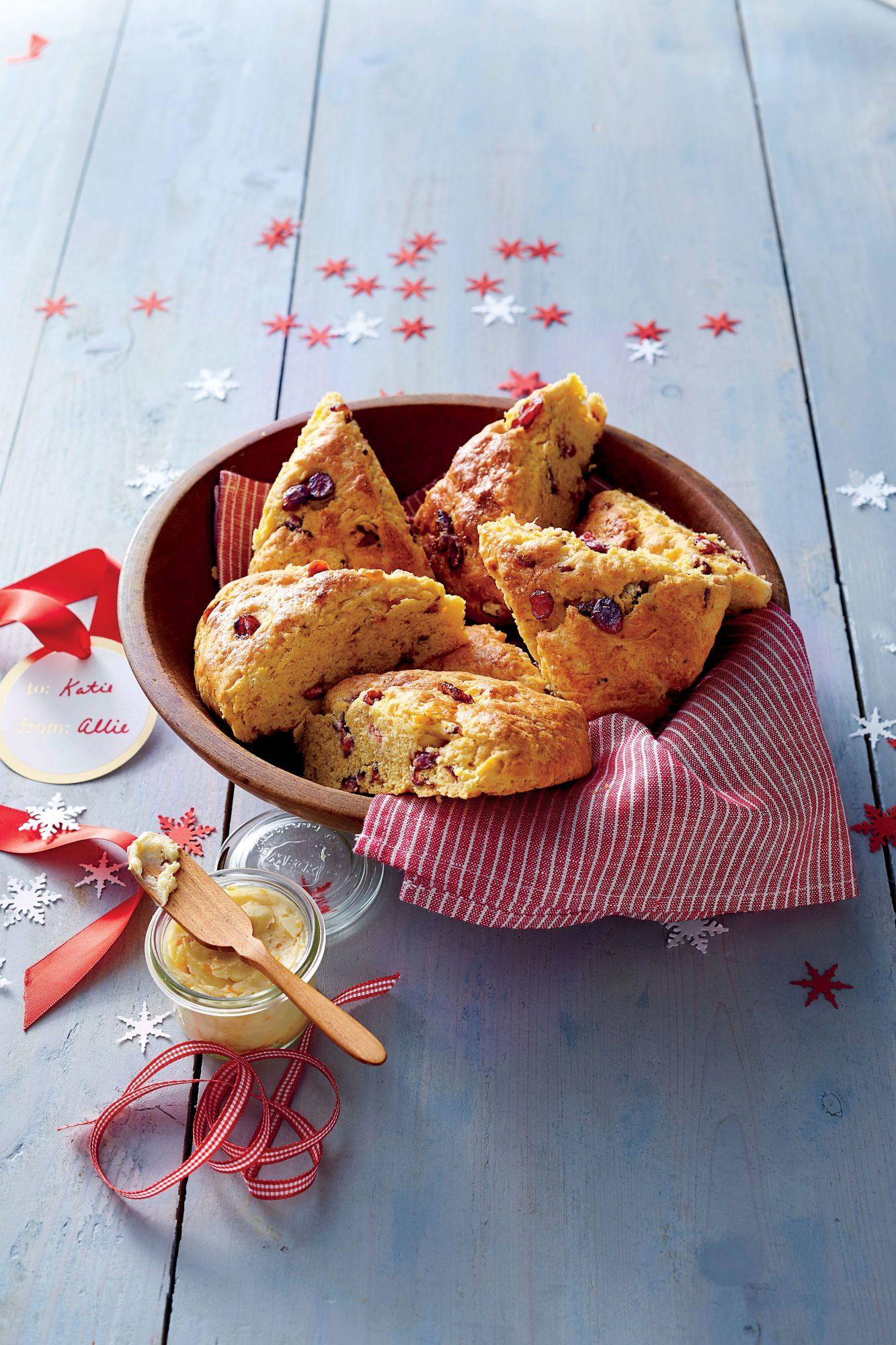 Sweet Potato-Cranberry Scones with Molasses-Orange Butter Recipe