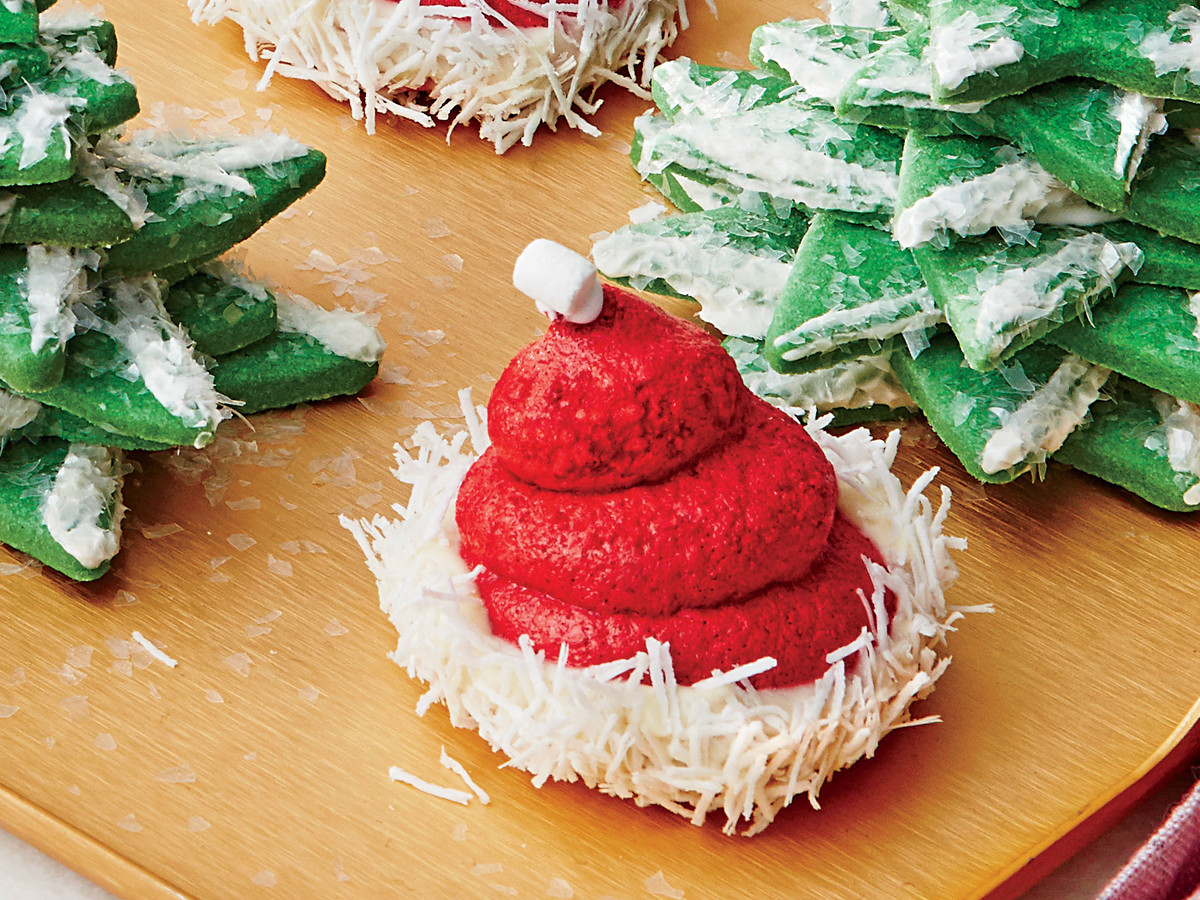 Red Velvet Santa Hat Meringues