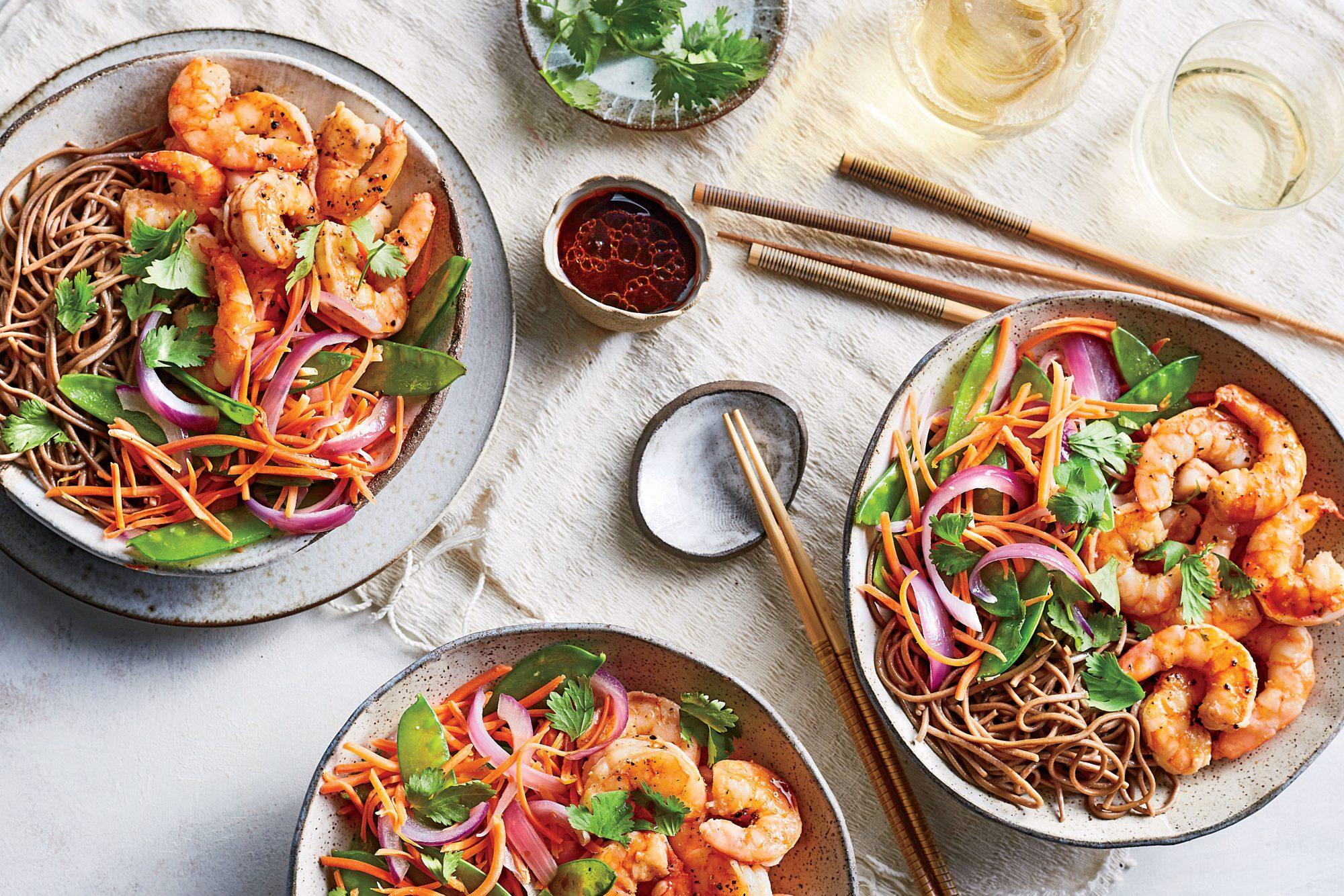 Soba Noodle-and-Shrimp Bowls