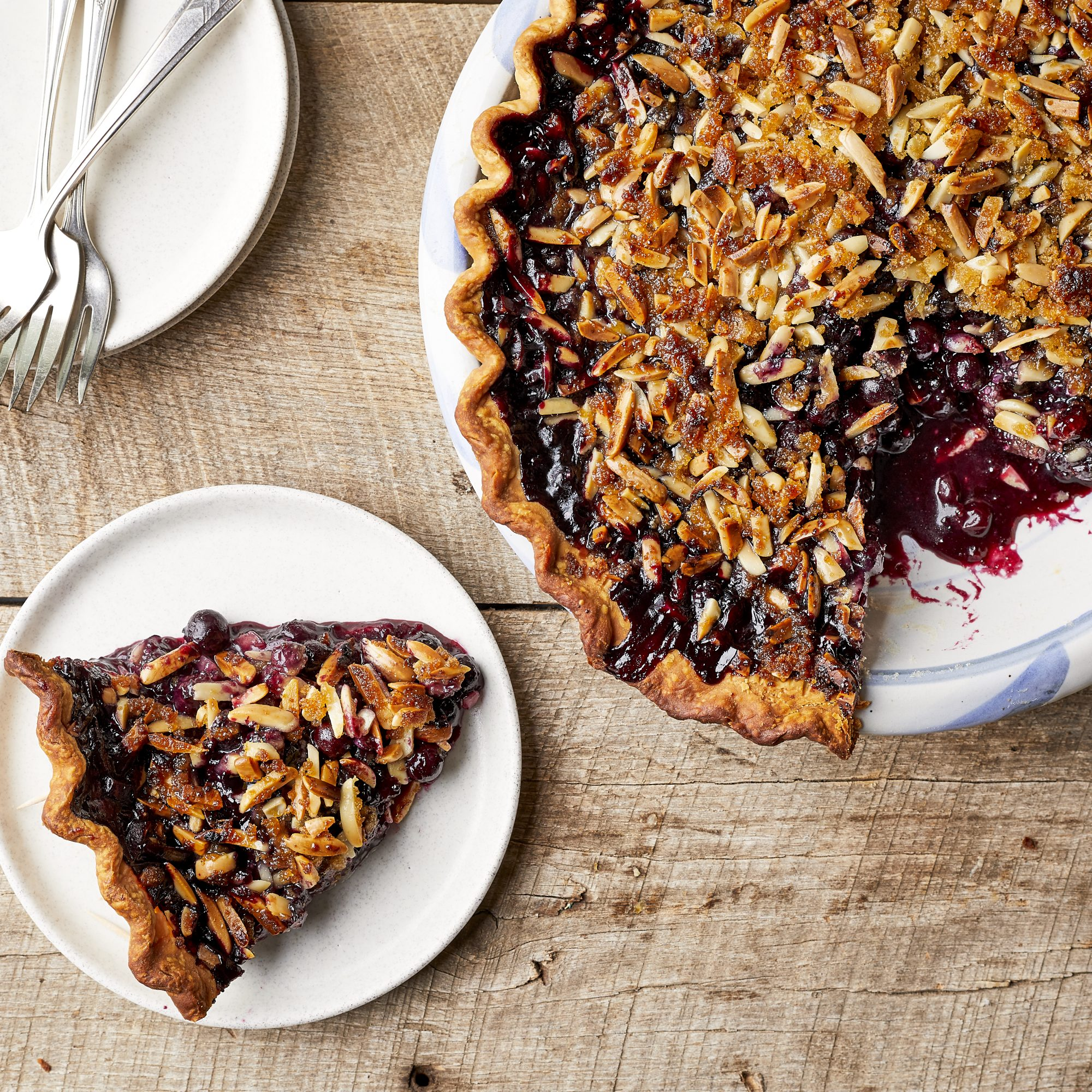 Blueberry-Lavender Pie With Almond Streusel