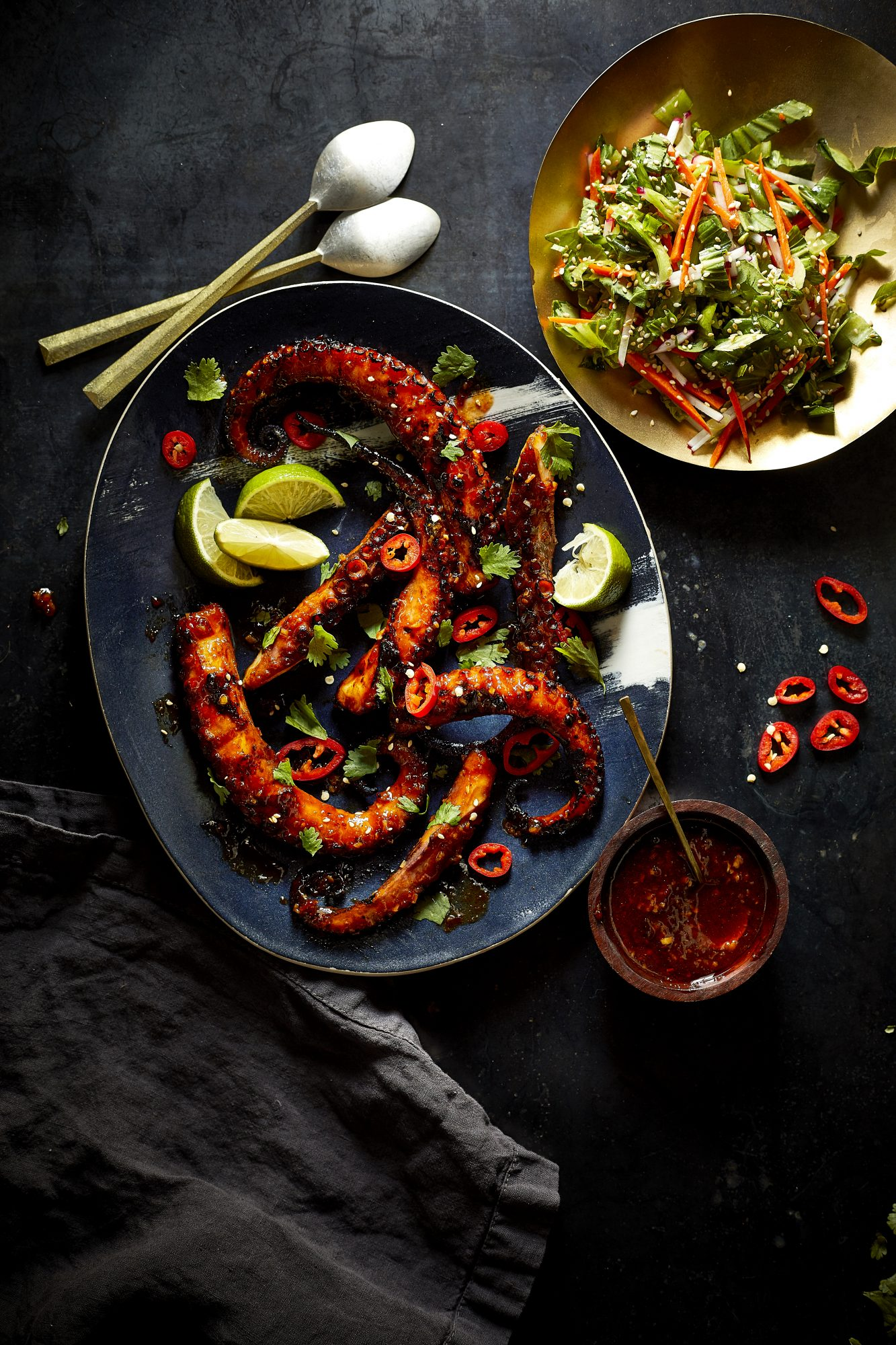 Grilled Octopus with Korean Barbecue Sauce and Baby Bok Choy Slaw image