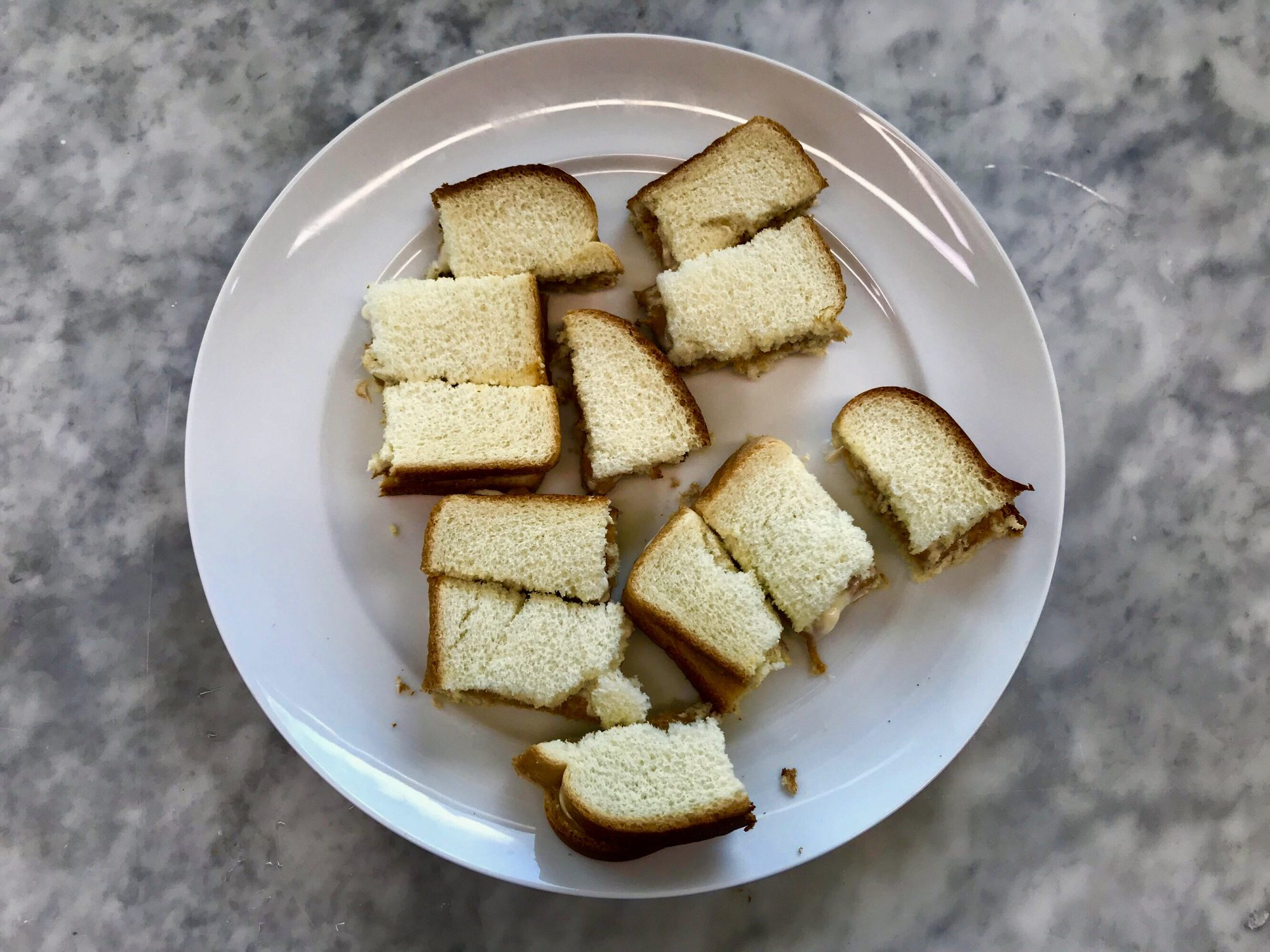 peanut butter and mayonnaise cut sandwich