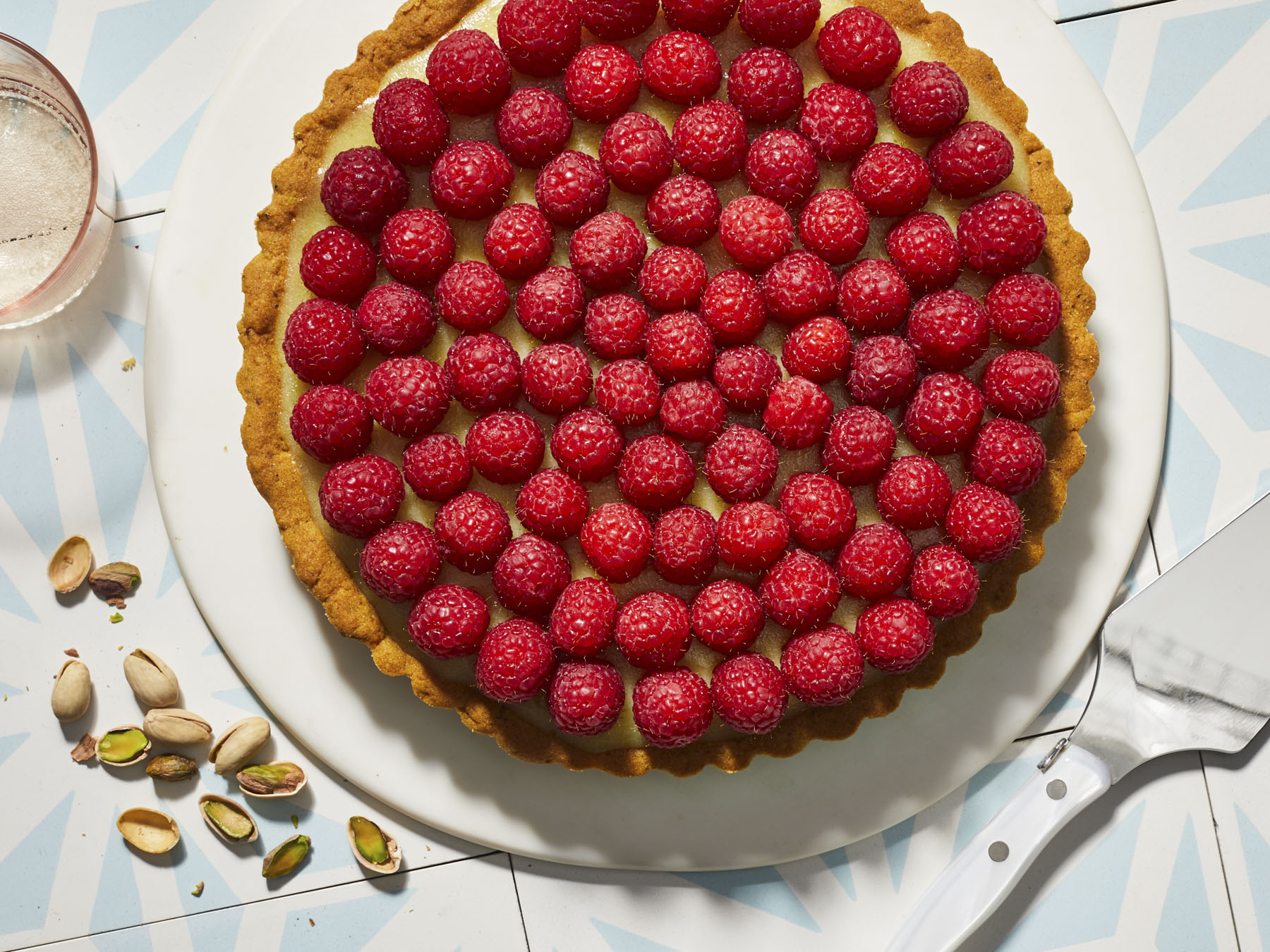 Raspberry-Lime Tart with Pistachio Crust