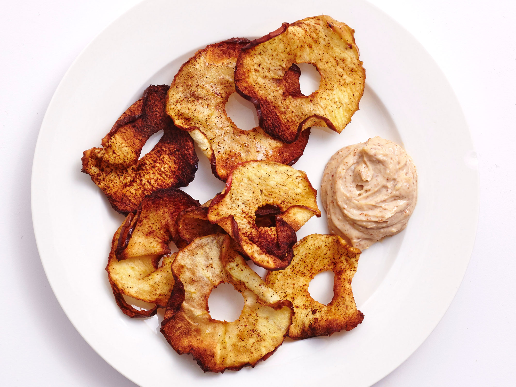 Air-Fried Cinnamon Apple Chips With Almond Yogurt Dip
