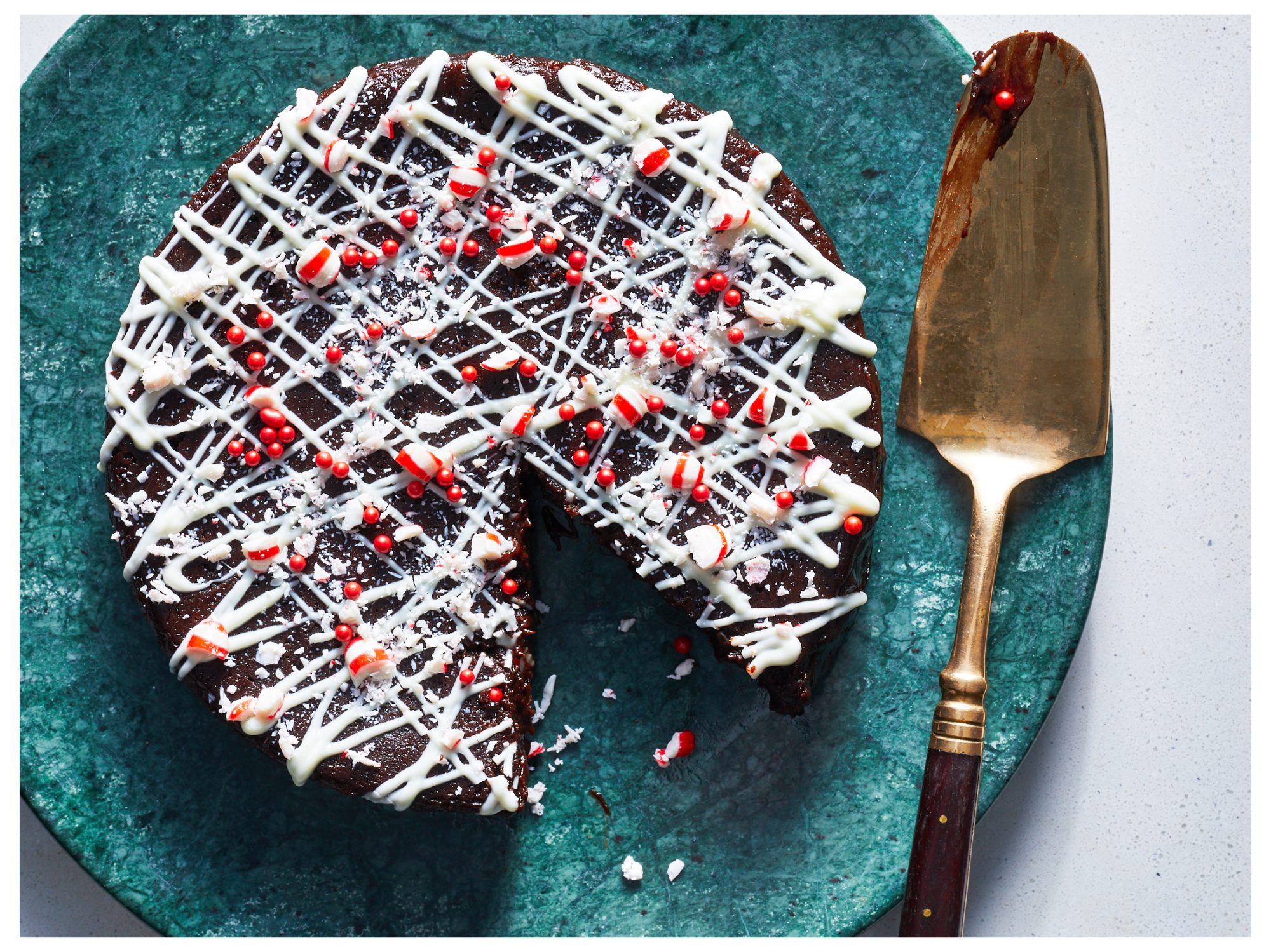 Instant Pot Peppermint Brownie Cake image