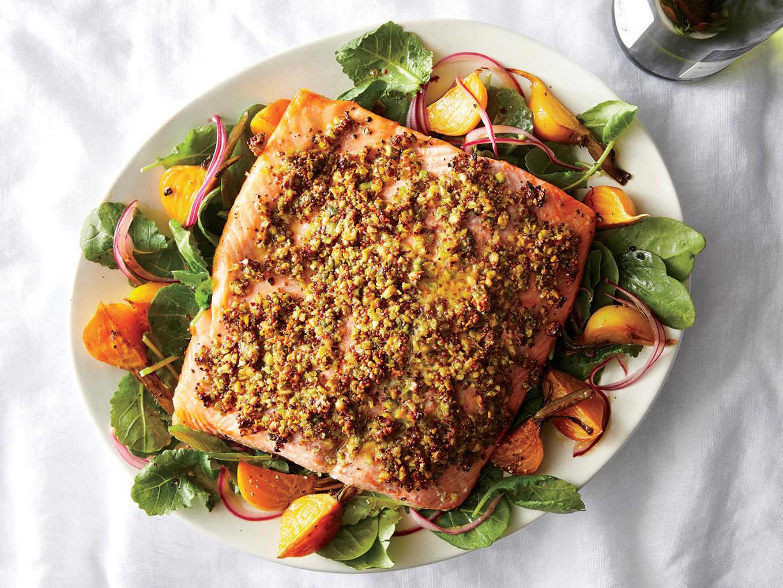 Roasted Pistachio-Crusted Salmon and Kale Salad