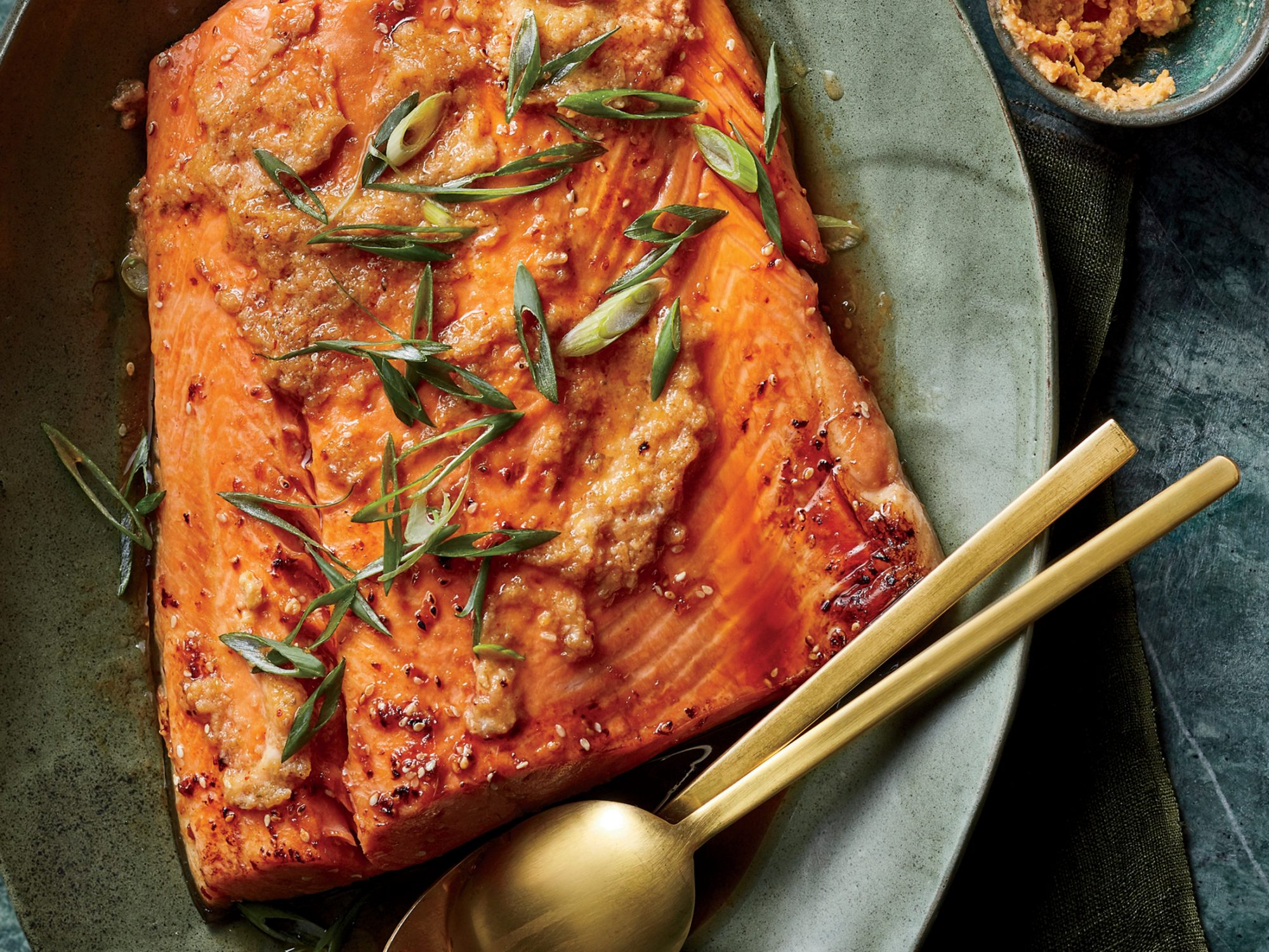 Sesame Salmon with Kimchi-Miso Butter
