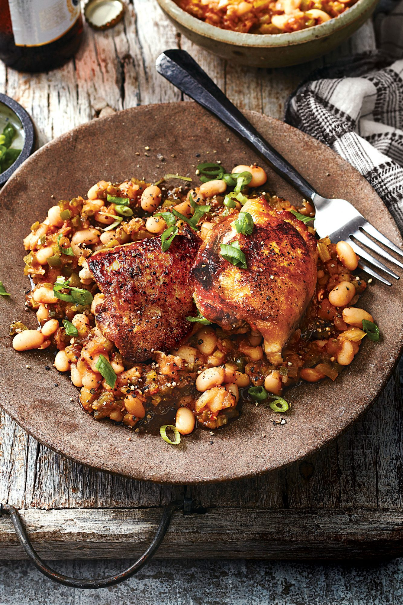 Chicken Thighs and BBQ Beans